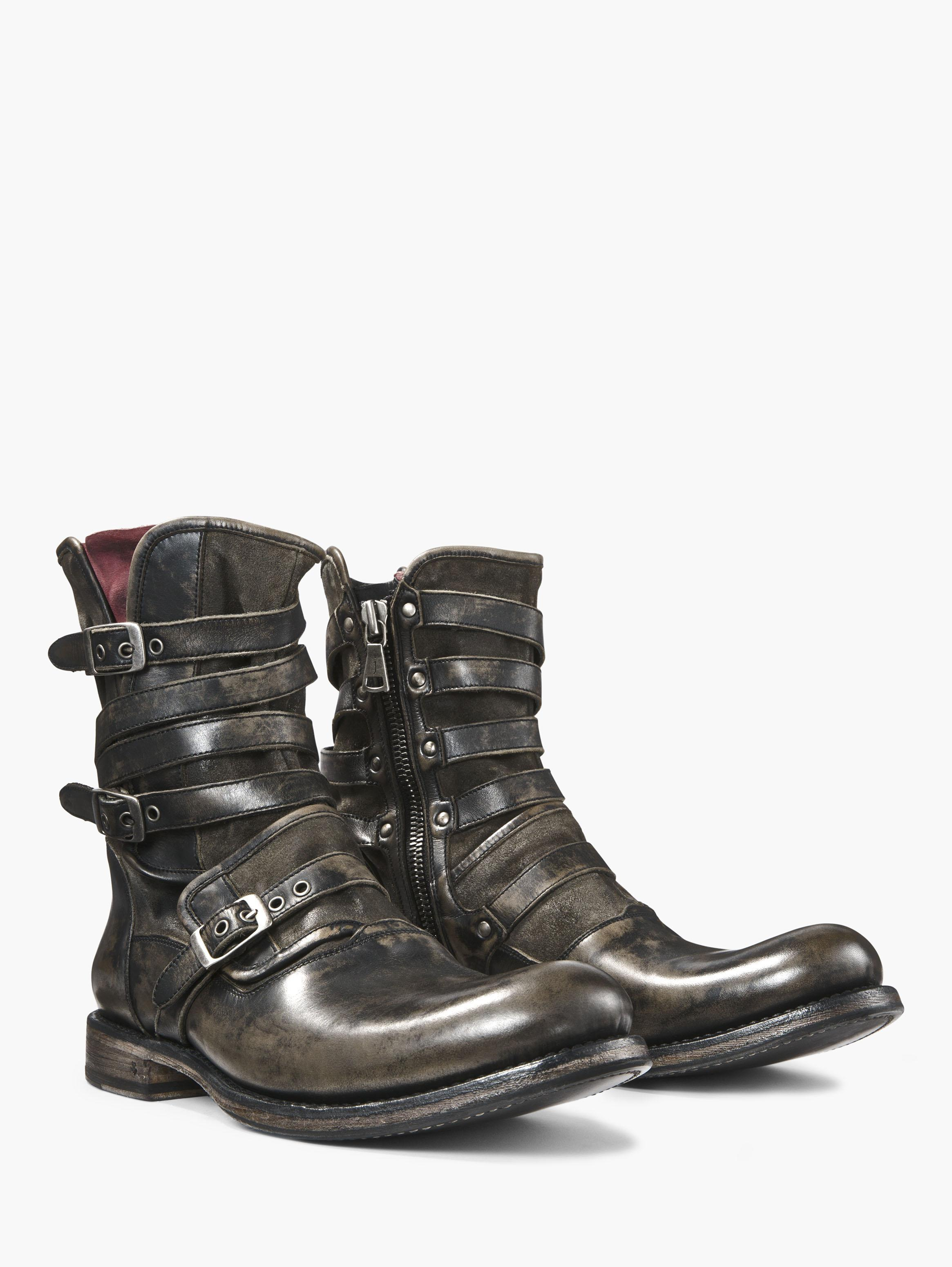 John Varvatos Engineer Triple Buckle Boots In Gray For Men