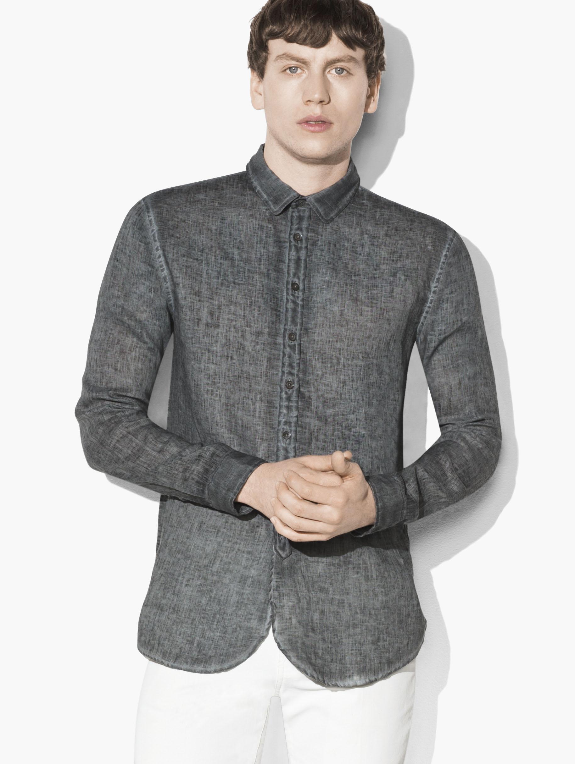 john varvatos artisan linen shirt in gray for men lyst