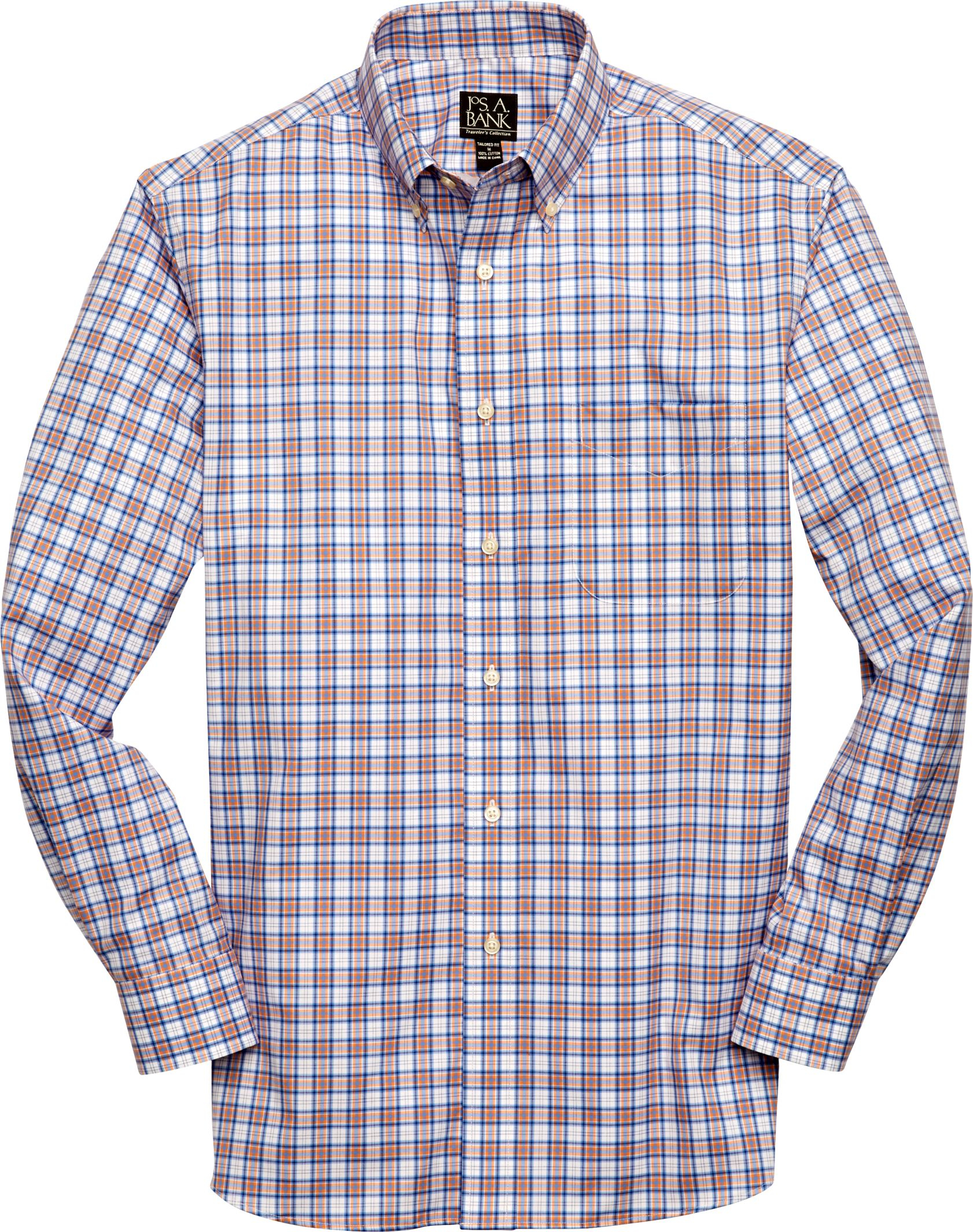 Jos a bank traveler tailored fit long sleeve sportshirt for Jos a bank tailored fit vs slim fit shirts