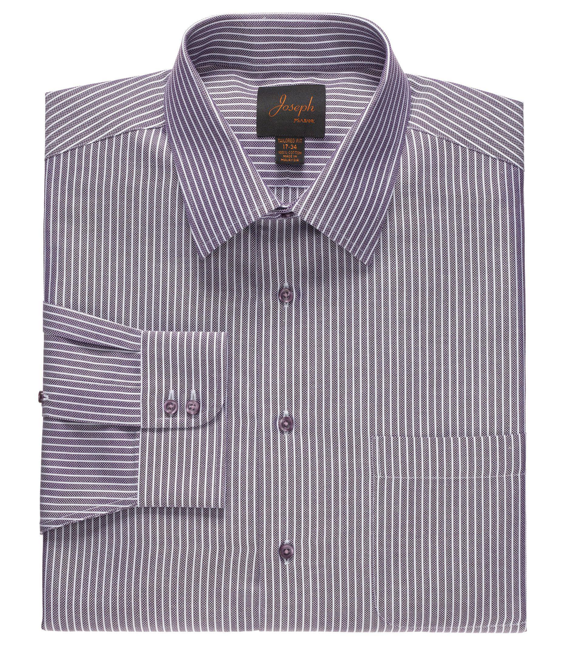 Jos a bank joseph spread collar cotton wide stripe dress for Joseph banks dress shirts