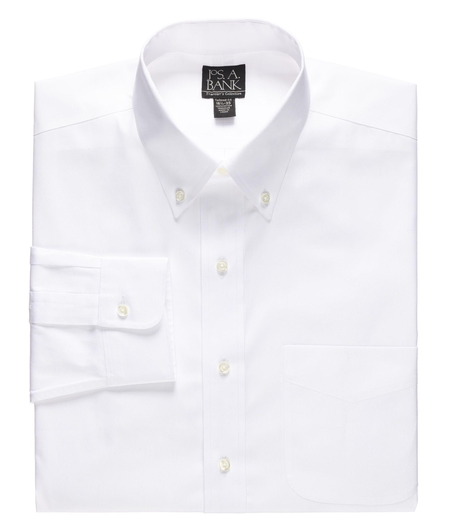 Lyst jos a bank traveler collection slim fit button for Dress shirt collar fit