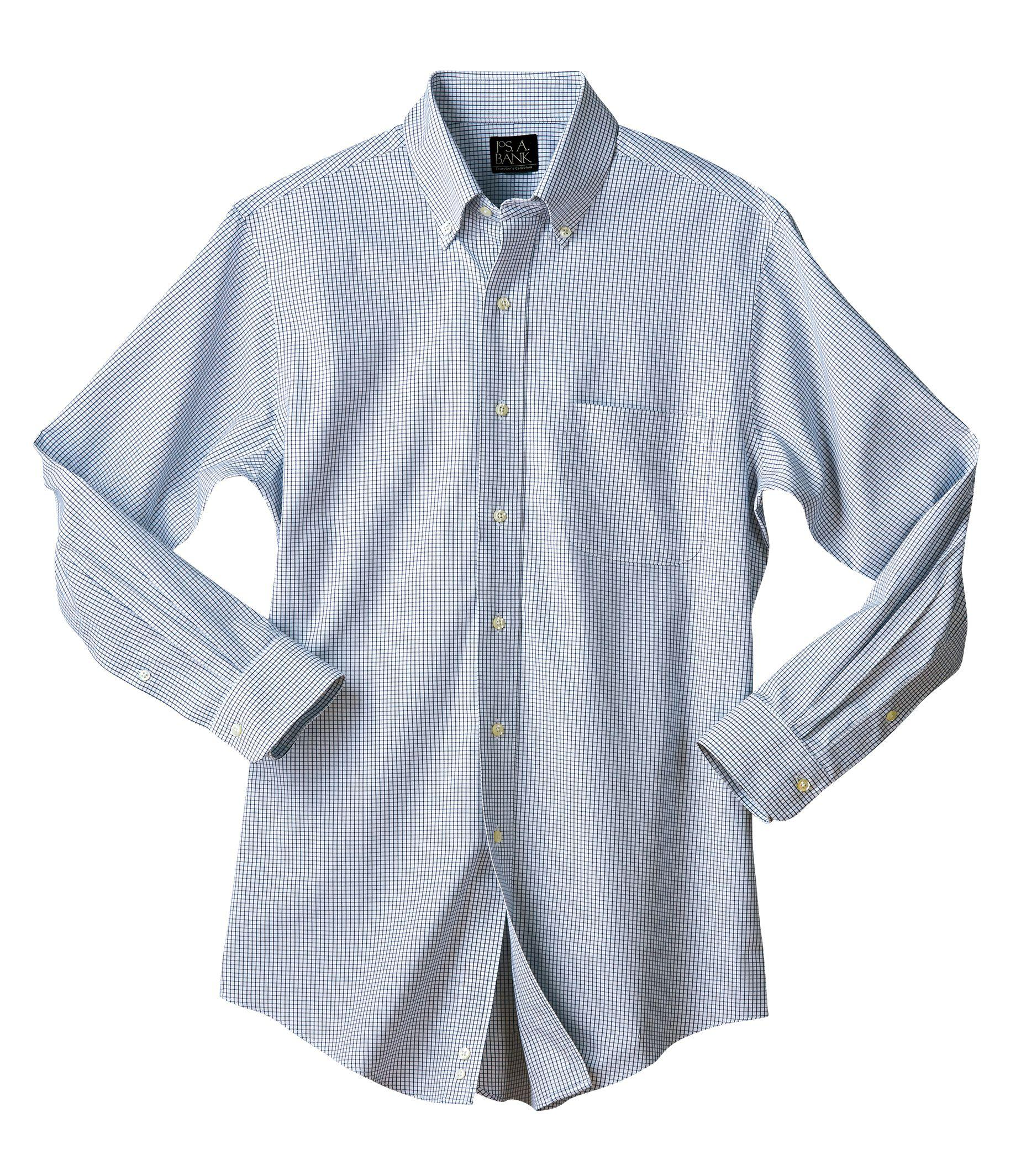 Jos a bank traveler collection tailored fit button down for Tall collar dress shirts