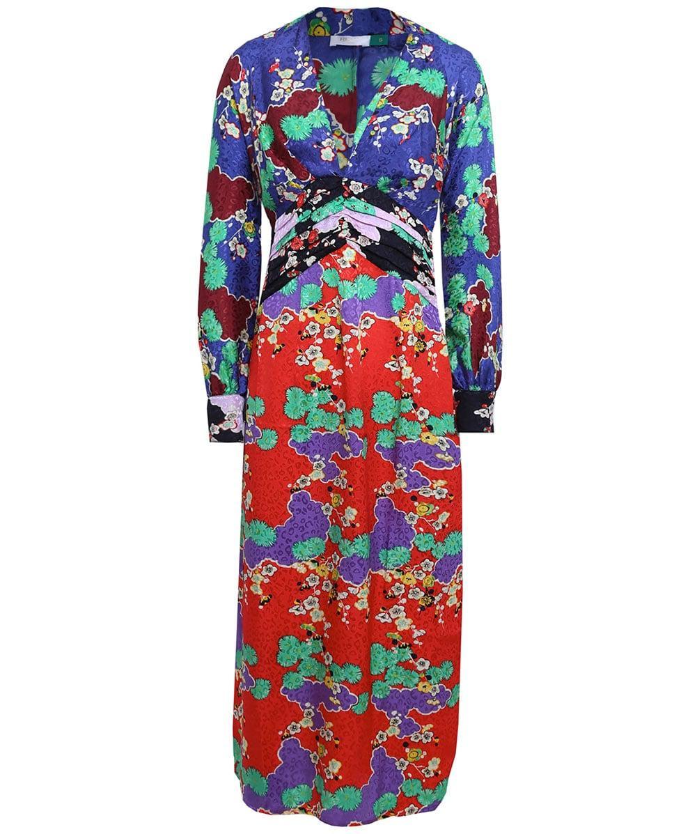 033abe9ee1d Lyst - RIXO London Silk Fedora Cherry Blossom Dress in Red