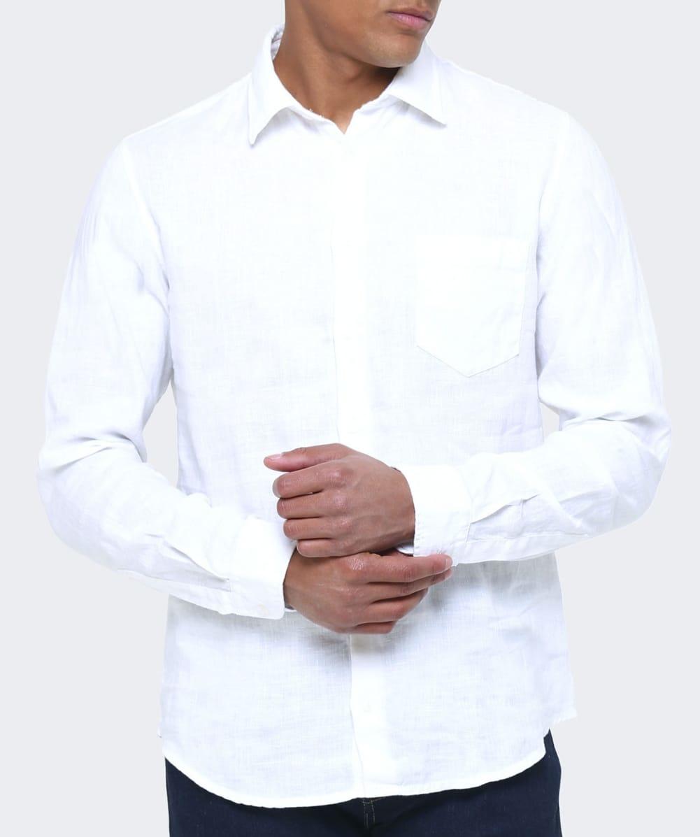 Boss orange slim fit linen enamee shirt in white for men for Slim fit white linen shirt