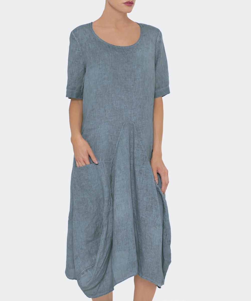 d728f332c6e Grizas Short Sleeved Linen Balloon Dress in Blue - Lyst