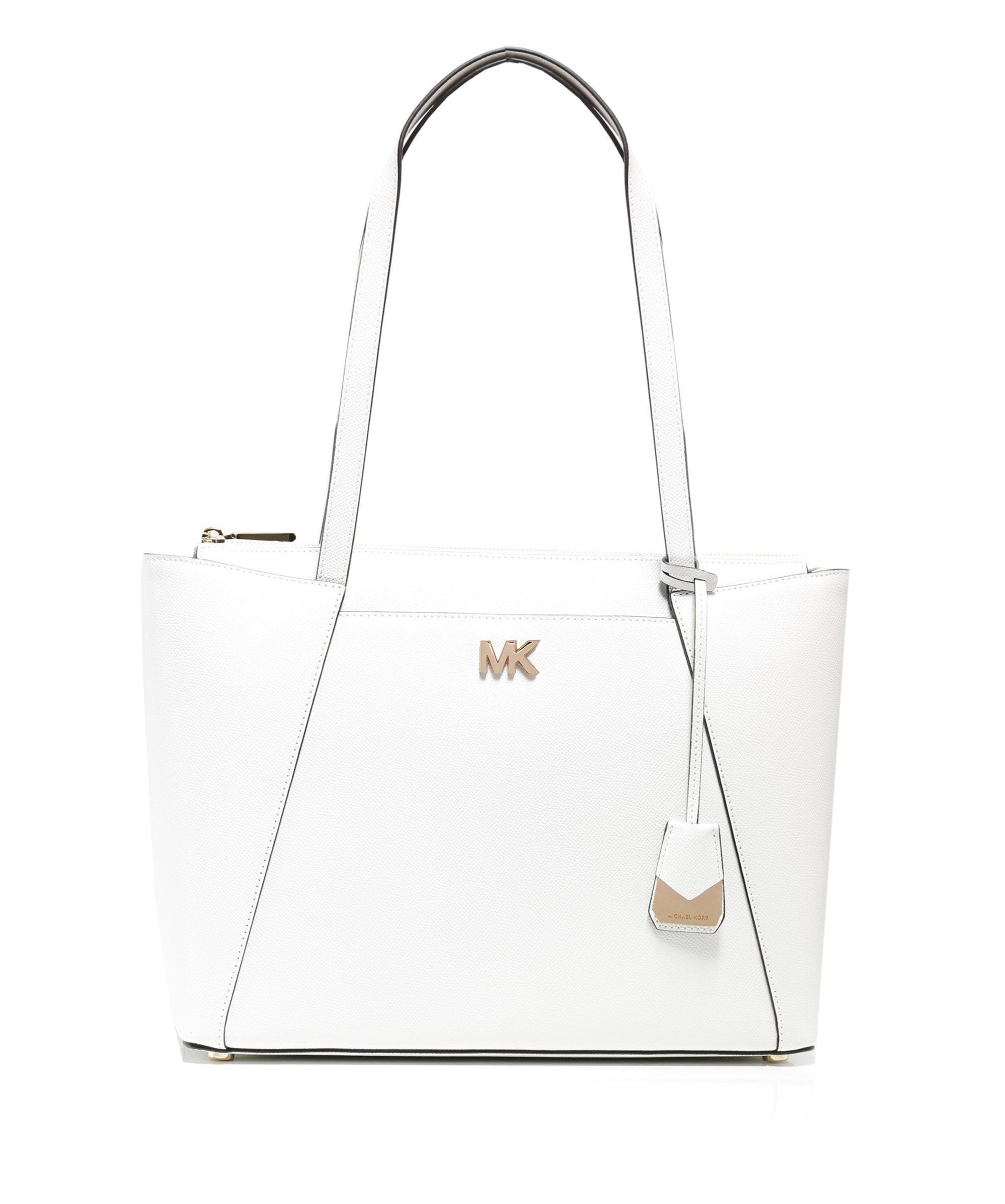af9d7bd1c6fc MICHAEL Michael Kors Maddie Medium Leather Tote Bag in White - Lyst