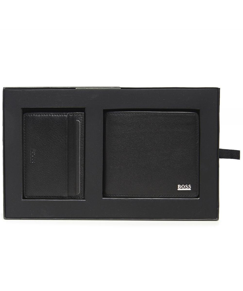 a8c3539928e BOSS Leather Billfold Wallet And Card Holder Gift Set in Black for Men -  Lyst