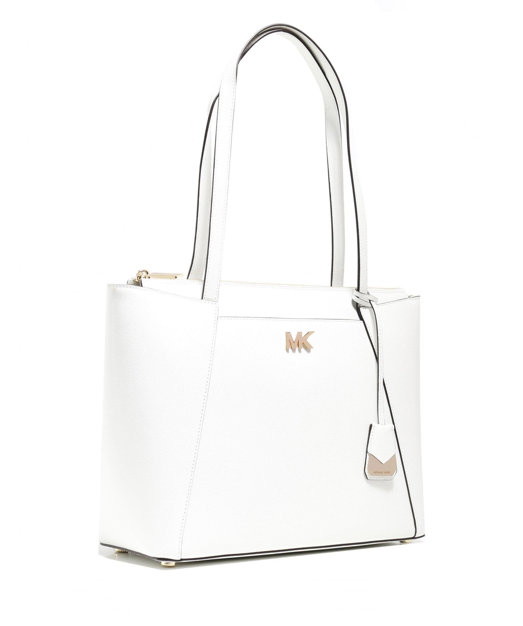 9802c54bc230 MICHAEL Michael Kors Maddie Medium Leather Tote Bag in White - Lyst