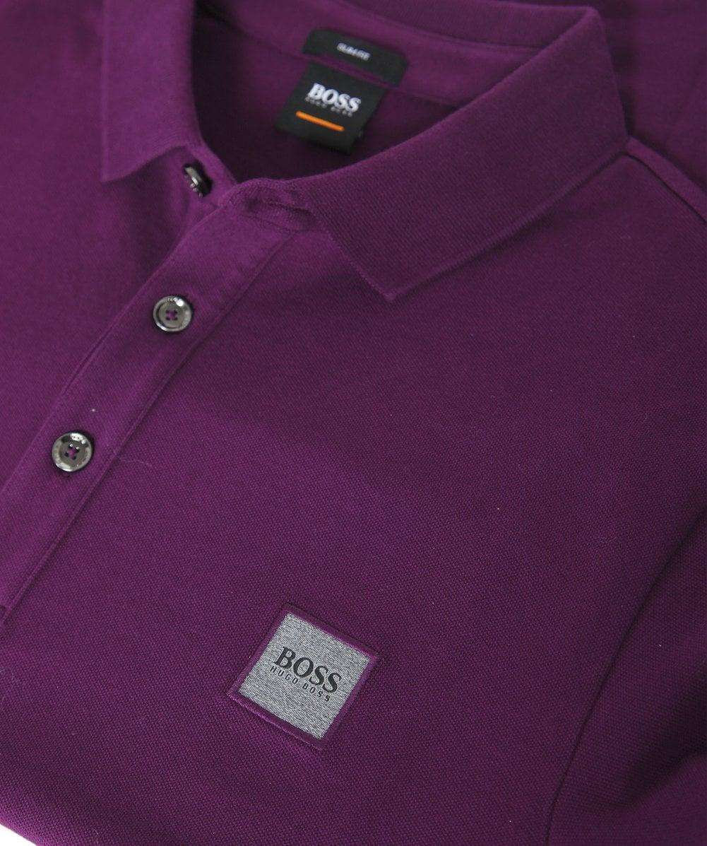 b8f2616f9d4 Lyst - BOSS Long Sleeve Passerby Polo Shirt in Purple for Men