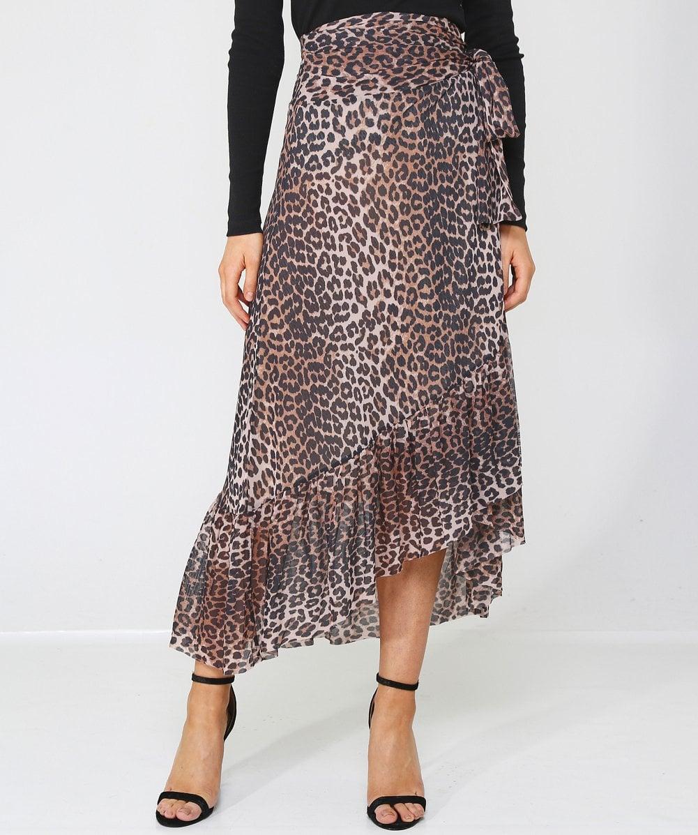 102b7912ebe5 Ganni Tilden Leopard Print Mesh Wrap Skirt in Brown - Lyst