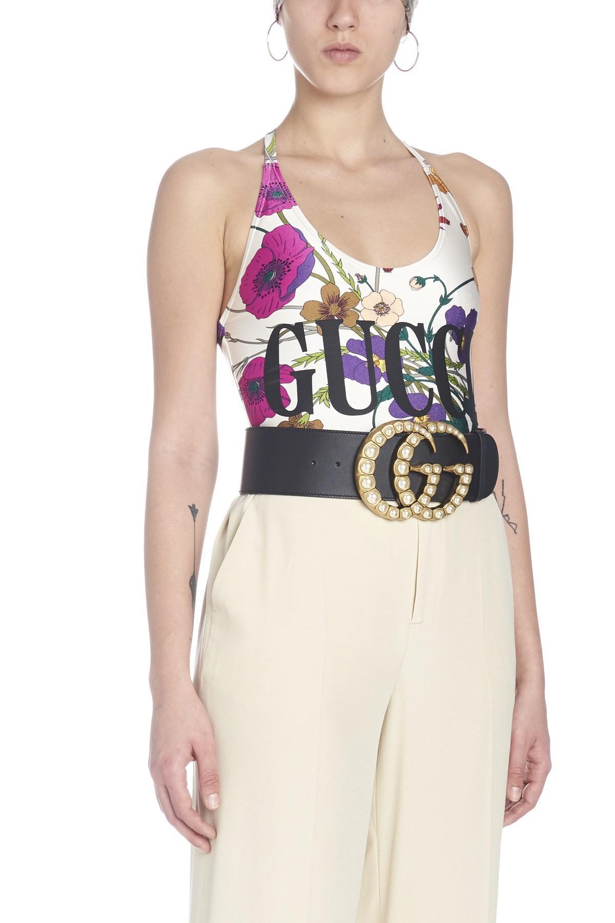 f1dd16287b9640 Lyst - Gucci ' Flora' Swimsuits