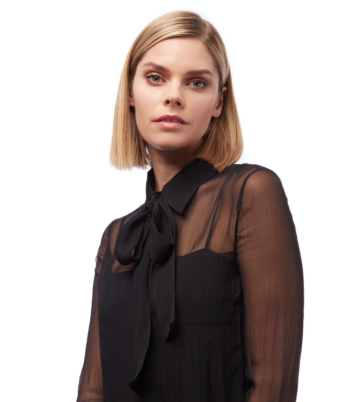 8cea931b45922f Prada Black Tie Neck Blouse in Black - Lyst