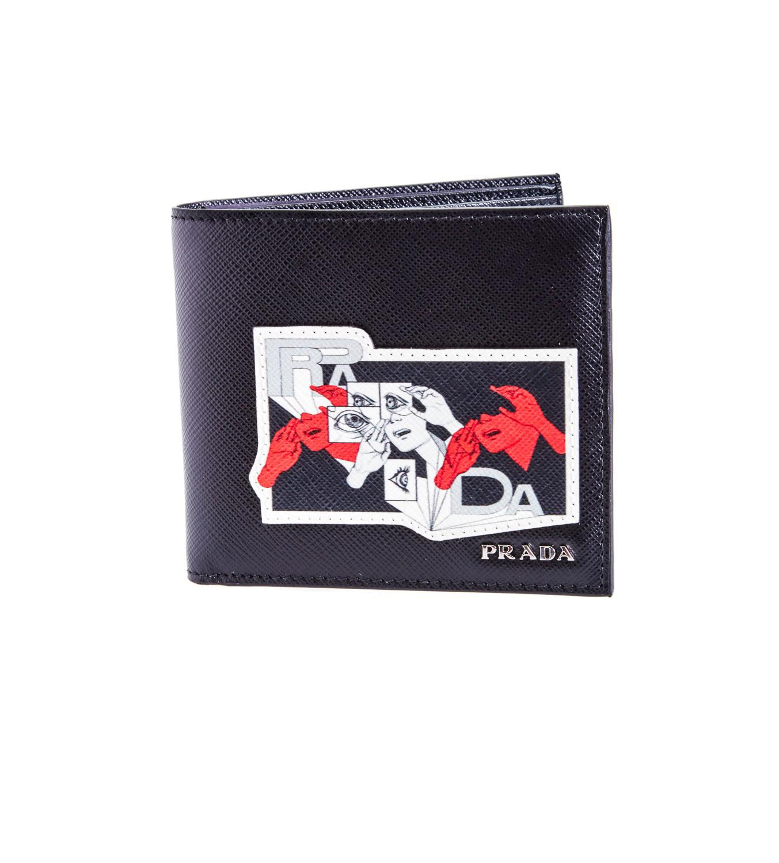 c5928310a6090c Prada Comics Black Leather Wallet in Black for Men - Lyst