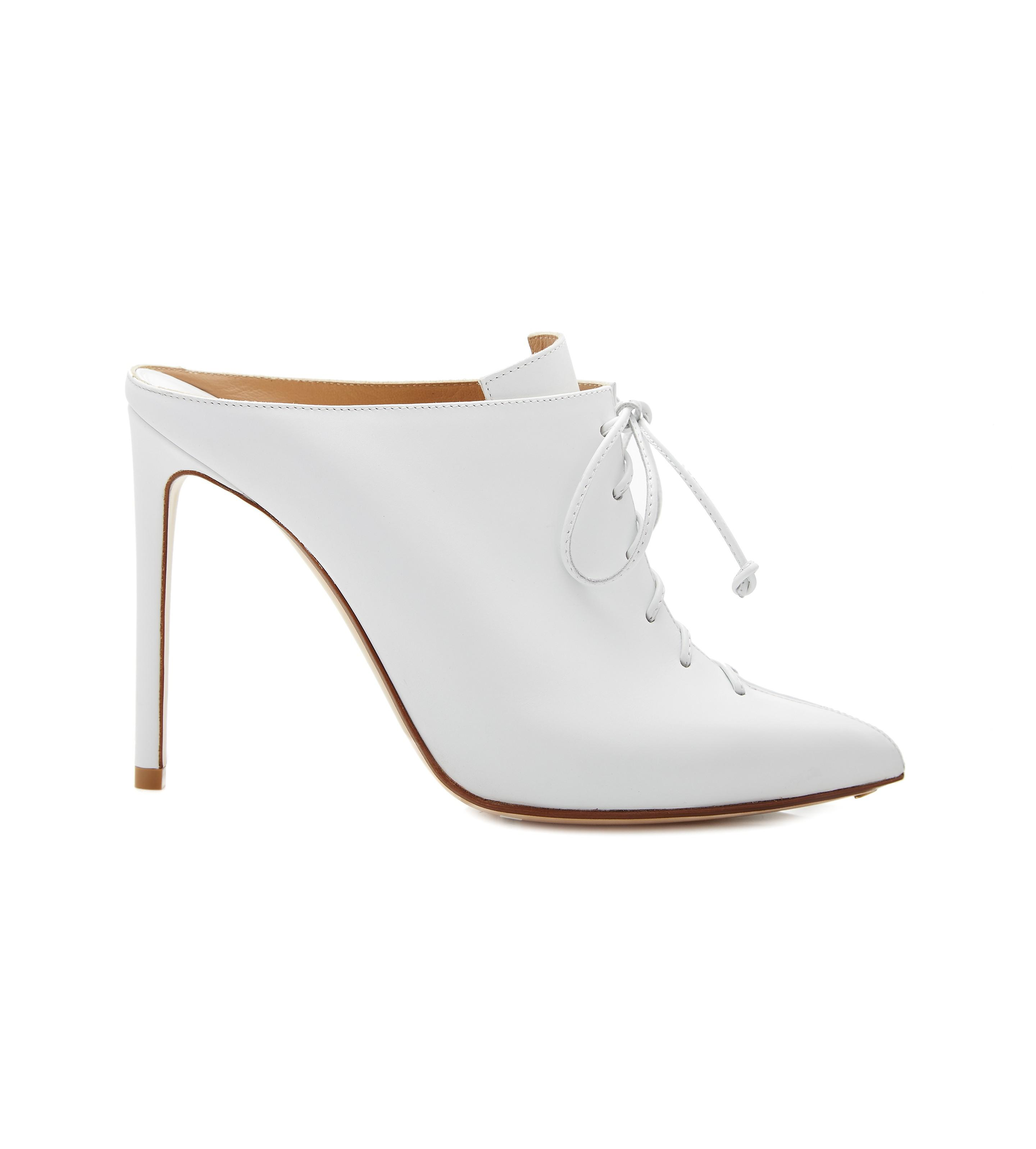 Lace-up Leather Mules - White Francesco Russo sXv0q3FR