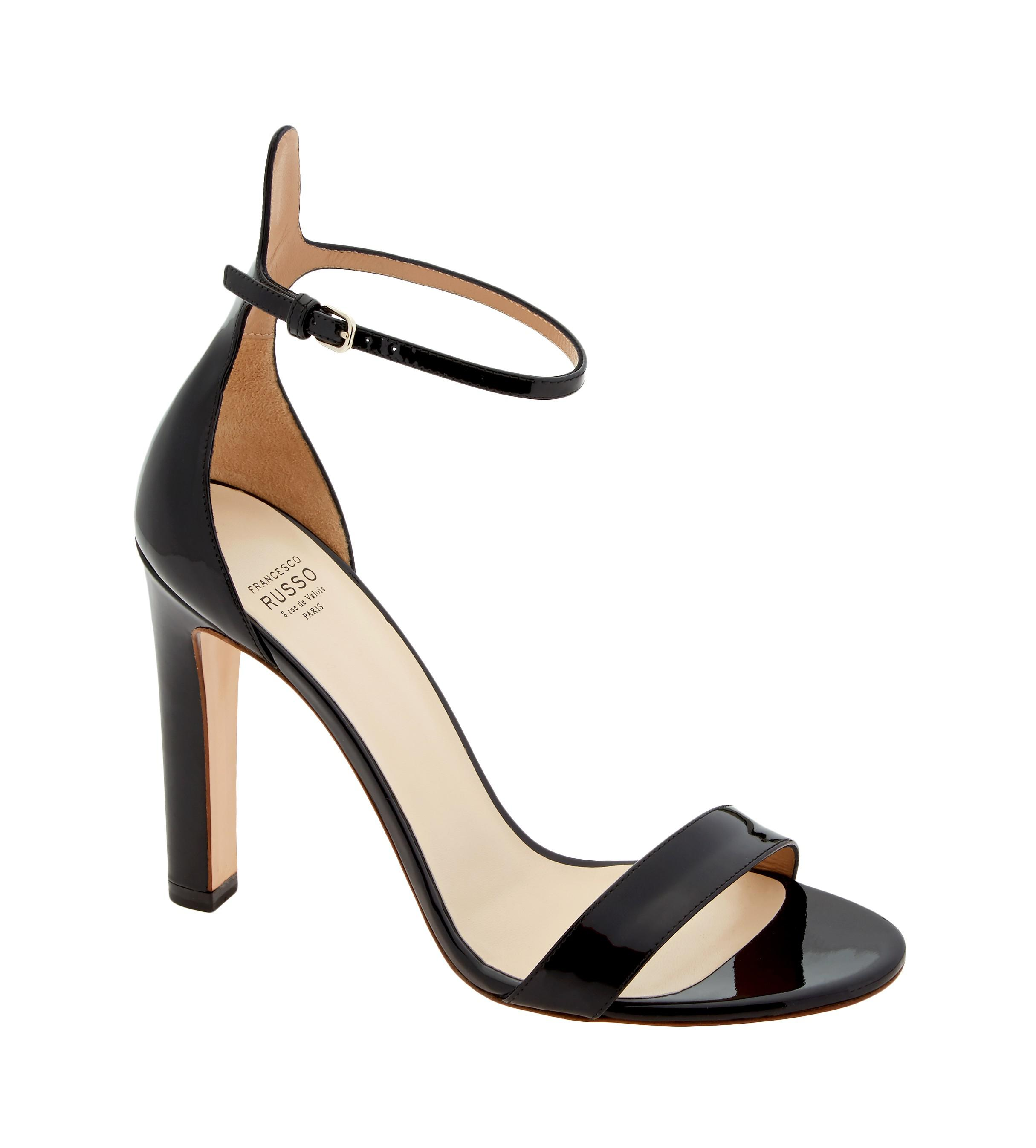 452eb89afd87 Lyst - Francesco Russo Vernice Patent Leather Ankle Strap Heels in Black