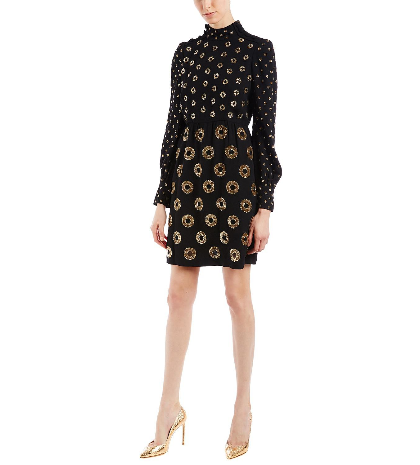 Marc Jacobs. Women's Metallic Sequin Circles Black Dress