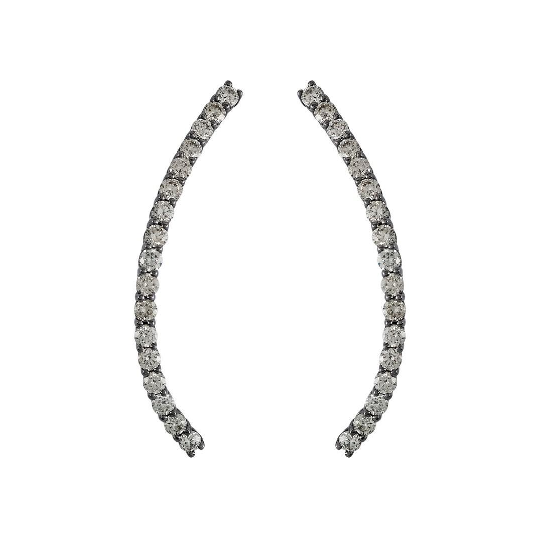 Pliss Rhodium-Plated 18K White Gold and Diamond Earrings Jack Vartanian 20W54eaKoX