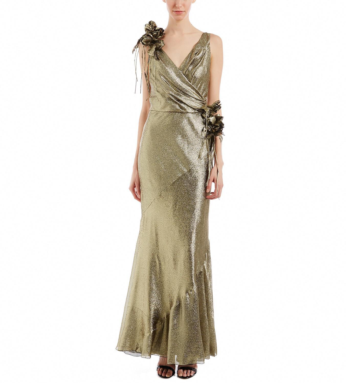 Lyst - Alberta Ferretti Gold Metallic Gown in Metallic