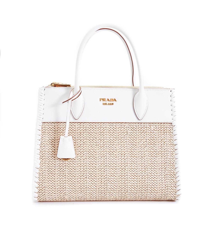 10024996d8163c Prada Paradigme Straw Bag in White - Lyst