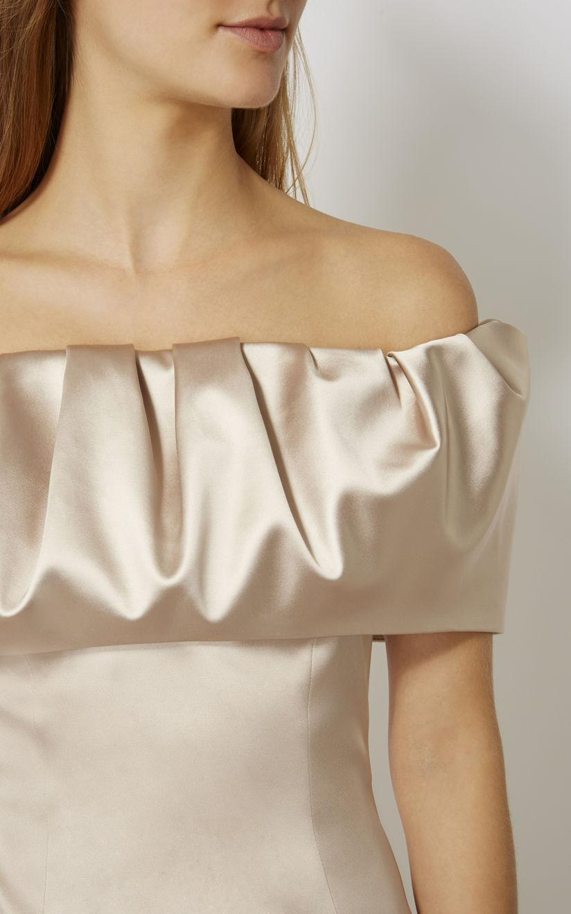 Karen Millen Off The Shoulder Pencil Dress Nude In Natural Lyst Jolie Clothing Joie Midi L Gallery Womens Dresses
