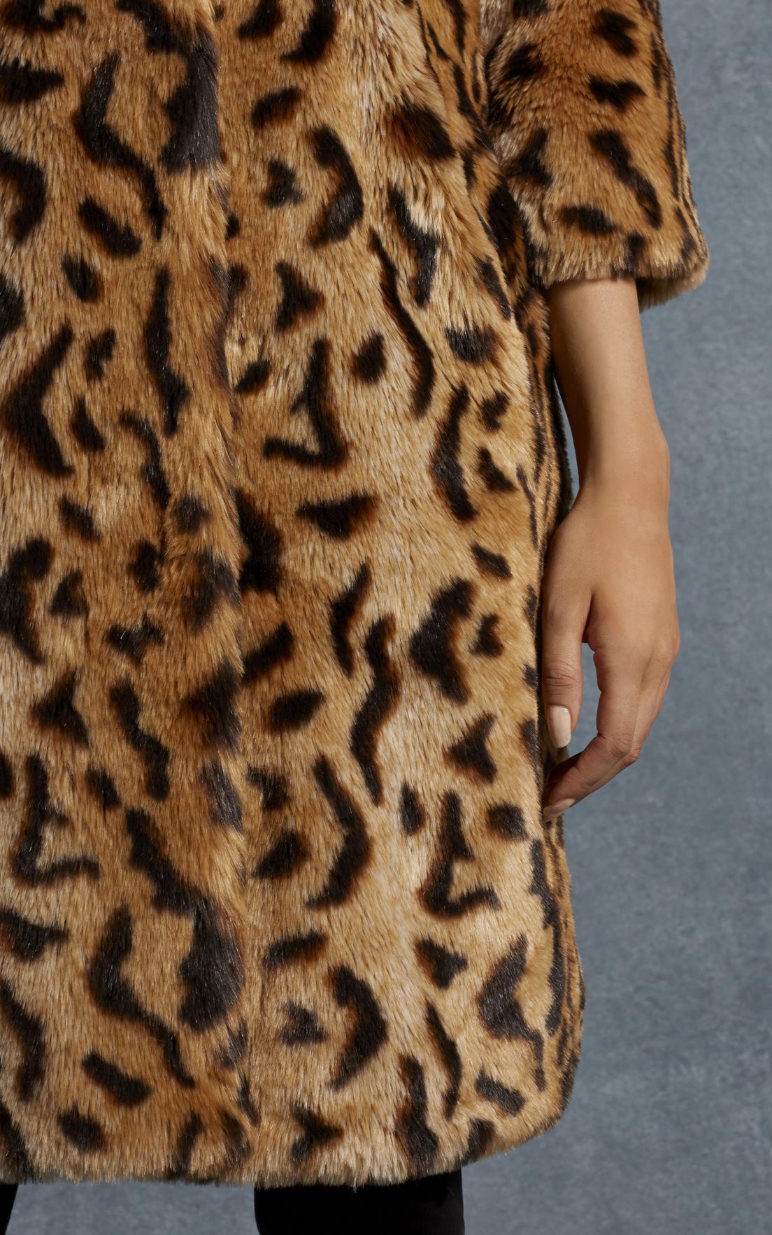 Lyst Karen Millen Leopard Print Faux Fur Coat Leopard