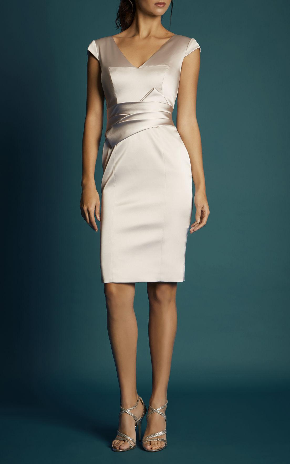 Lyst Karen Millen Pearl Satin Dress Champagne