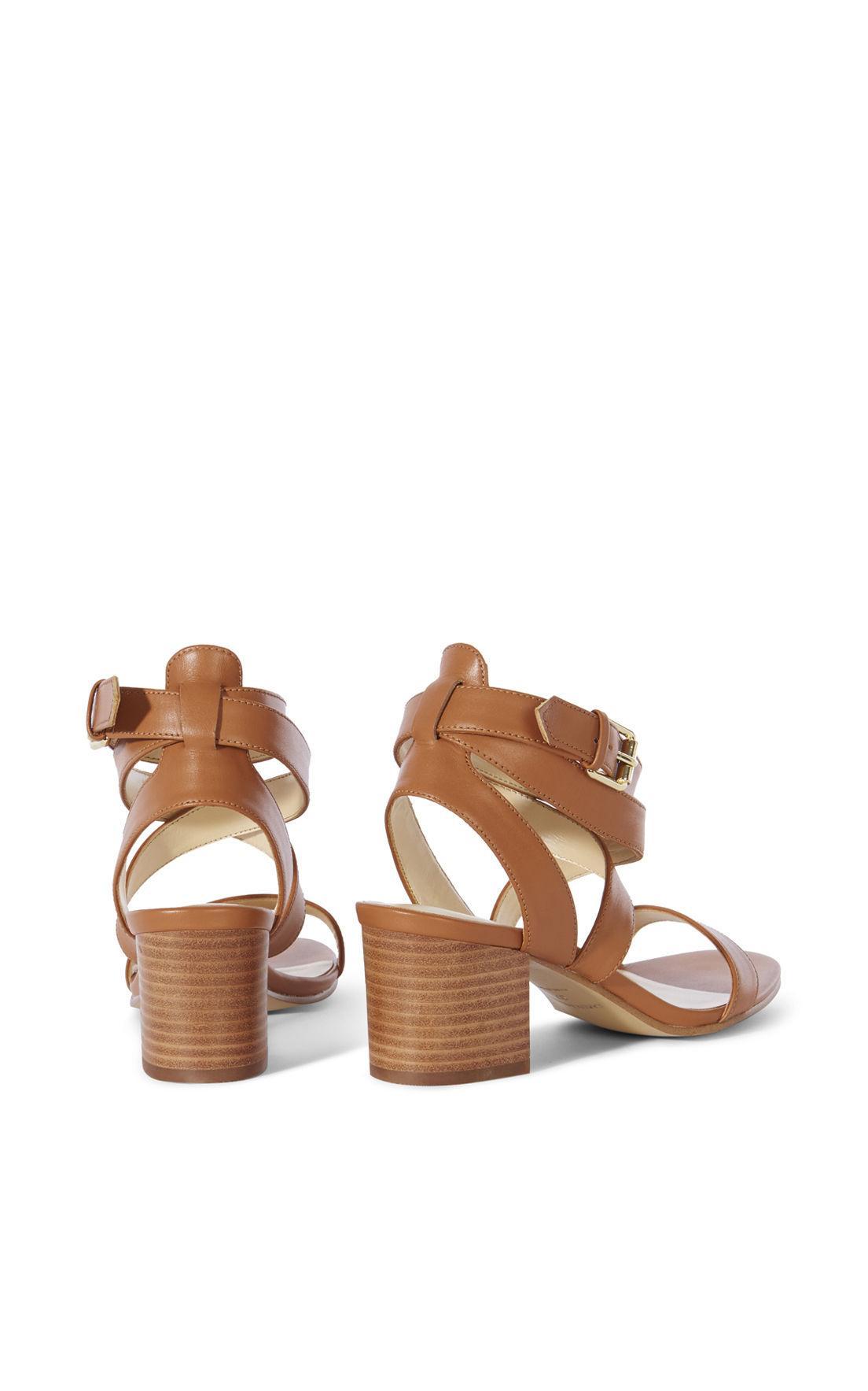 Karen Millen Leather Block Heel Sandal Tan In Brown Lyst