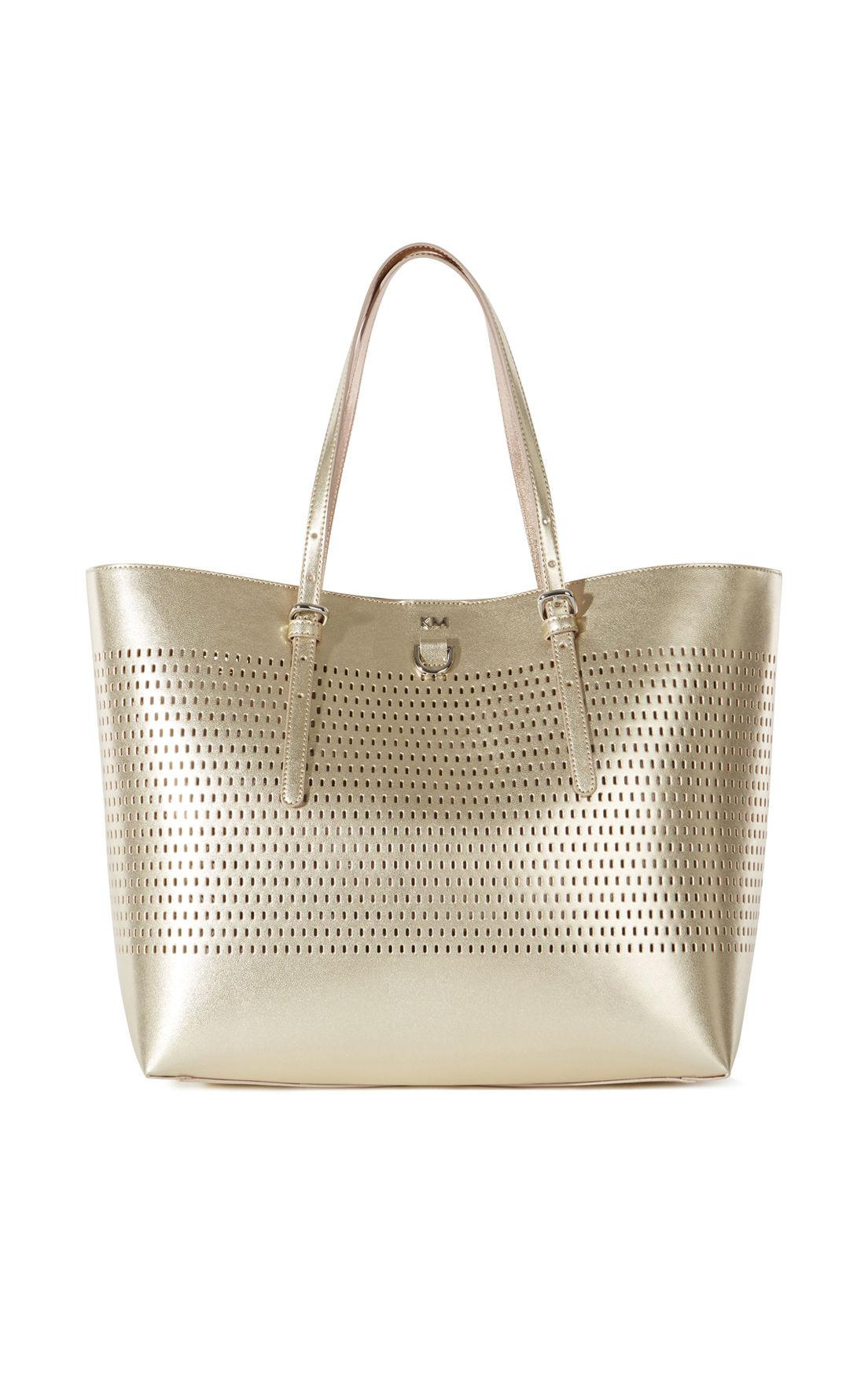 Lyst Karen Millen Metallic Tote Bag Gold In Metallic
