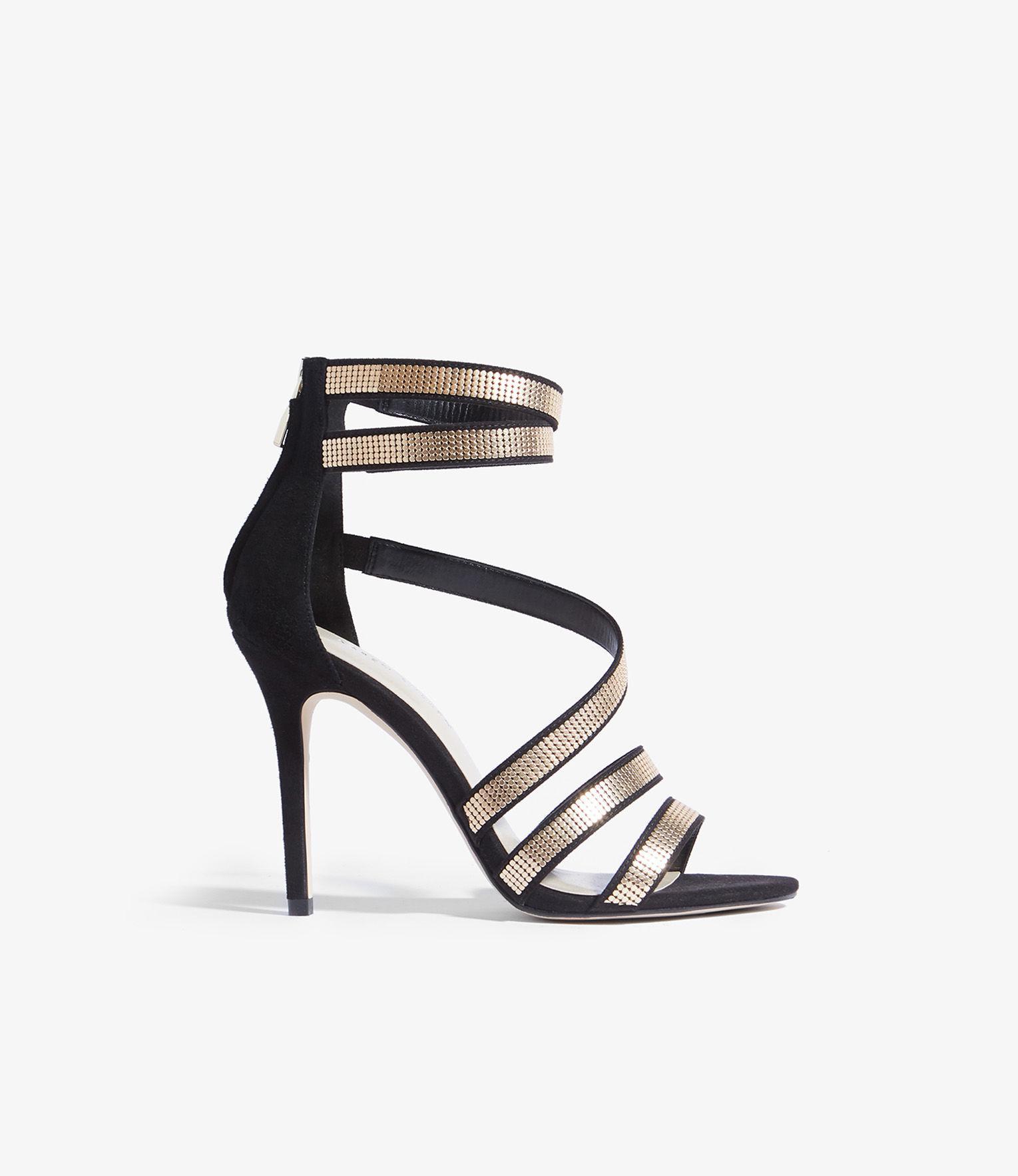 64eeeaf2e7c Karen Millen Strappy Heeled Sandals in Black - Save 32% - Lyst