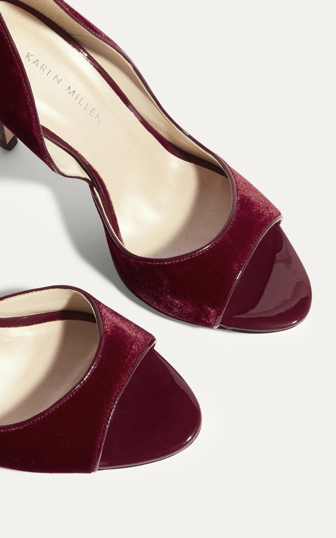 f8caa8b41e4 Karen Millen Velvet Open-toe Court Heels - Red in Red - Lyst