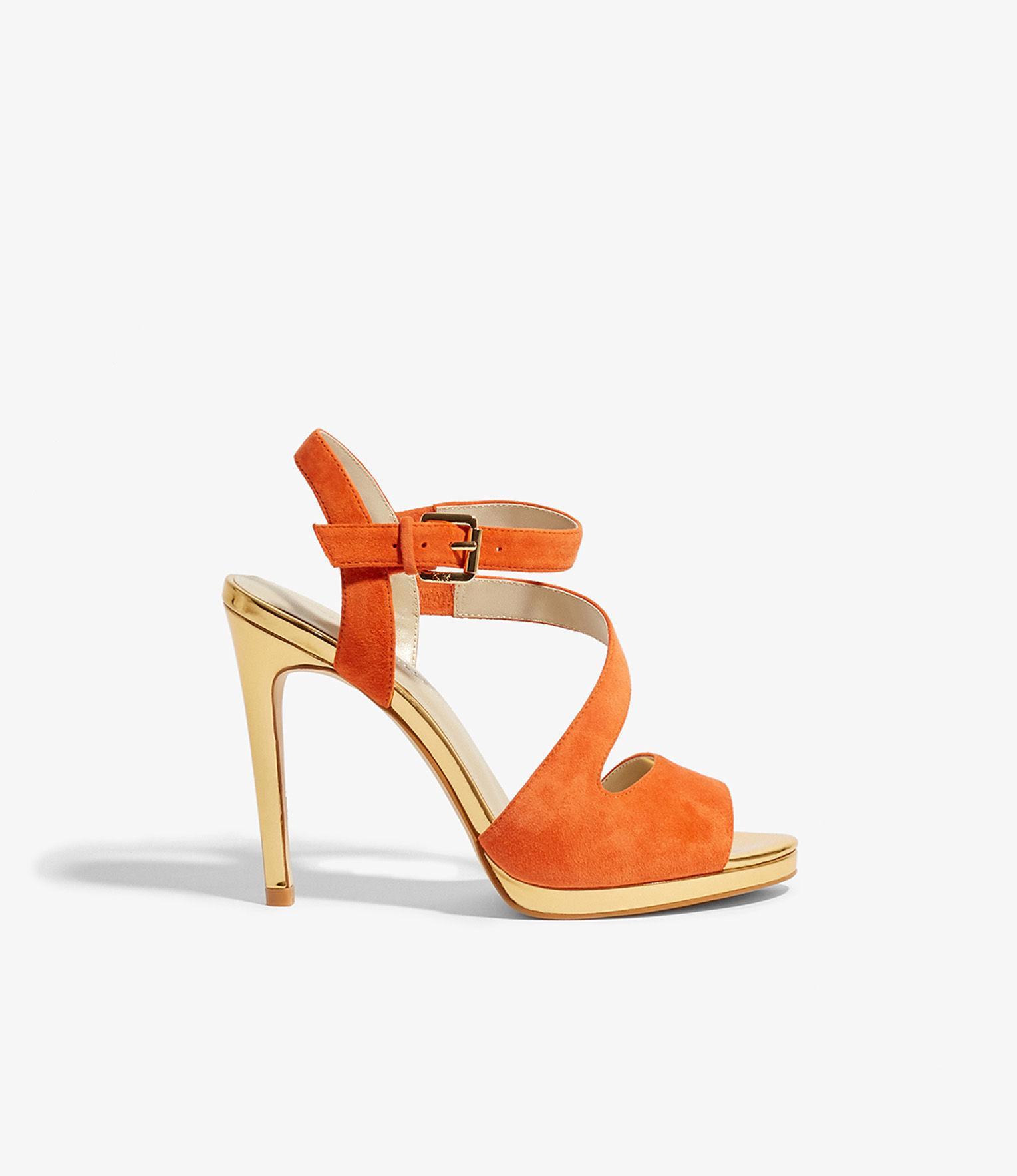 8ab3adec6a2 Lyst - Karen Millen Suede Strappy Heels in Orange
