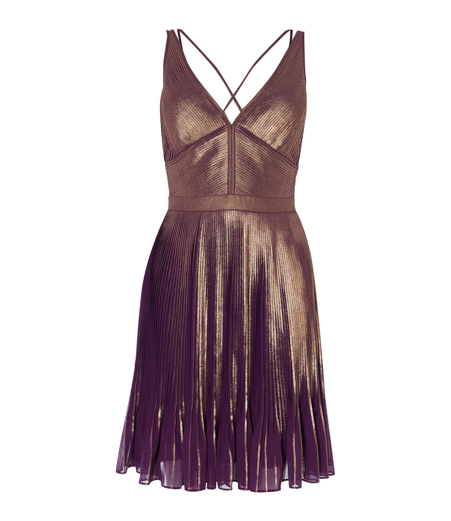 f5f0cec89a Karen Millen Metallic Pleated Dress - Multicolour in Purple - Lyst