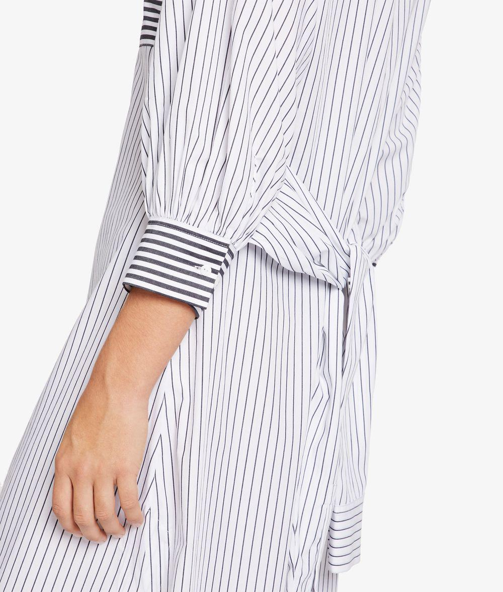 6aa6375cd0 Lyst - Karl Lagerfeld Cotton Poplin Stripe Dress in White