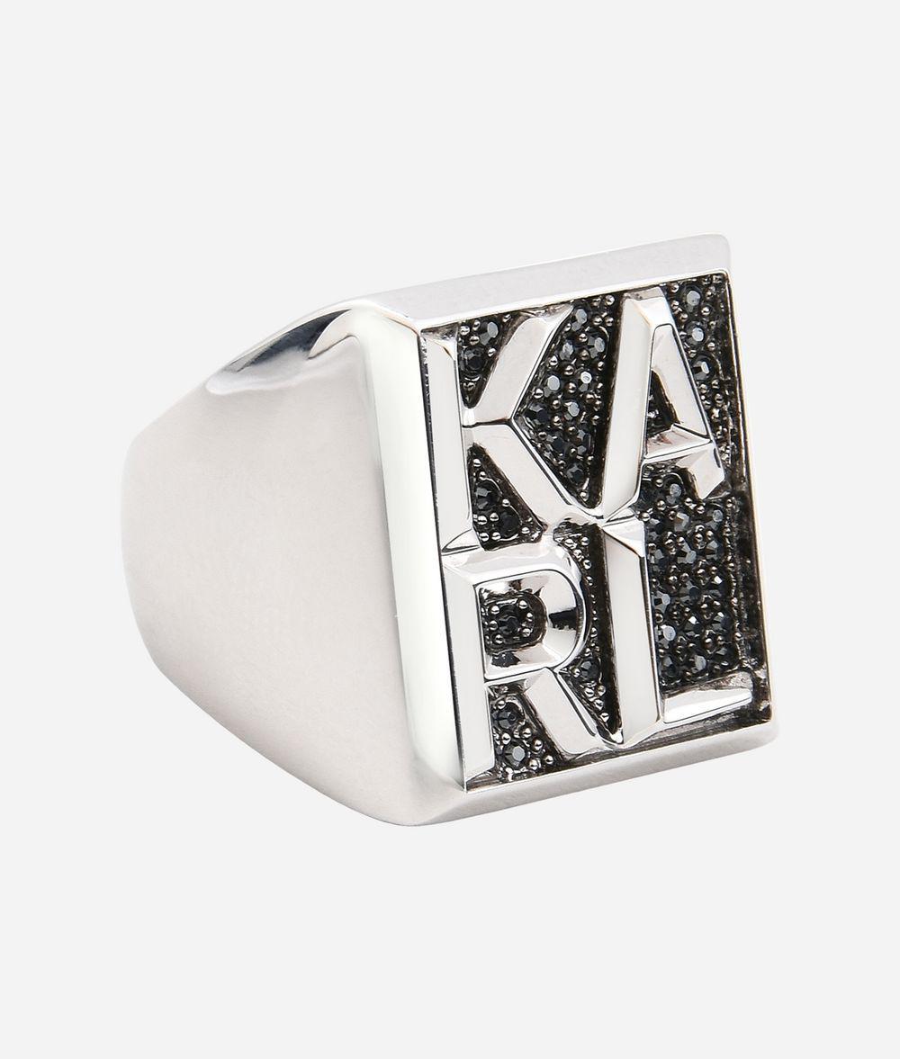 Karl Lagerfeld Karl block ring - Metallic tUt3j8JO3s