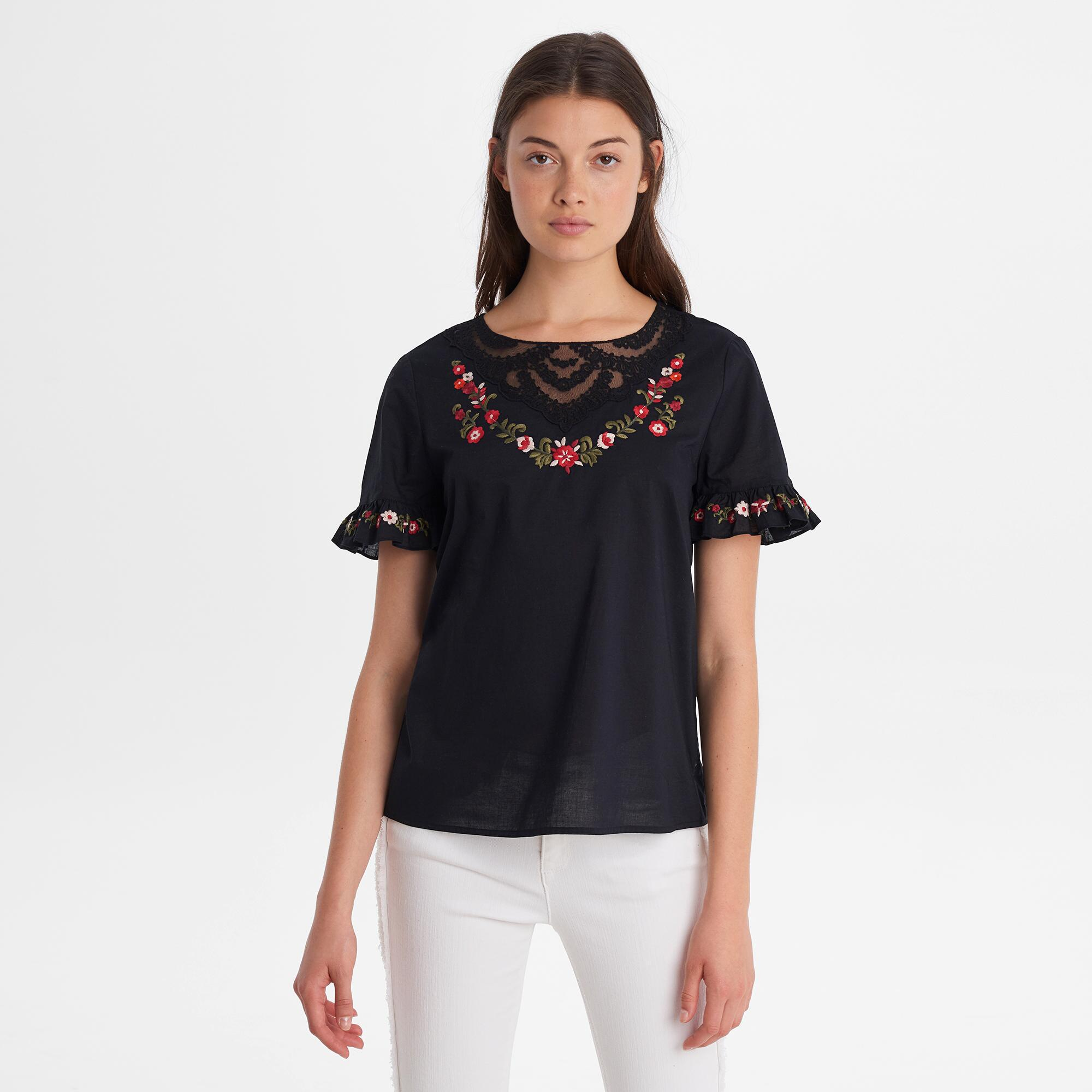 be94727d40b333 Lyst - Karl Lagerfeld Embroidered Ruffle Sleeve Blouse in Black