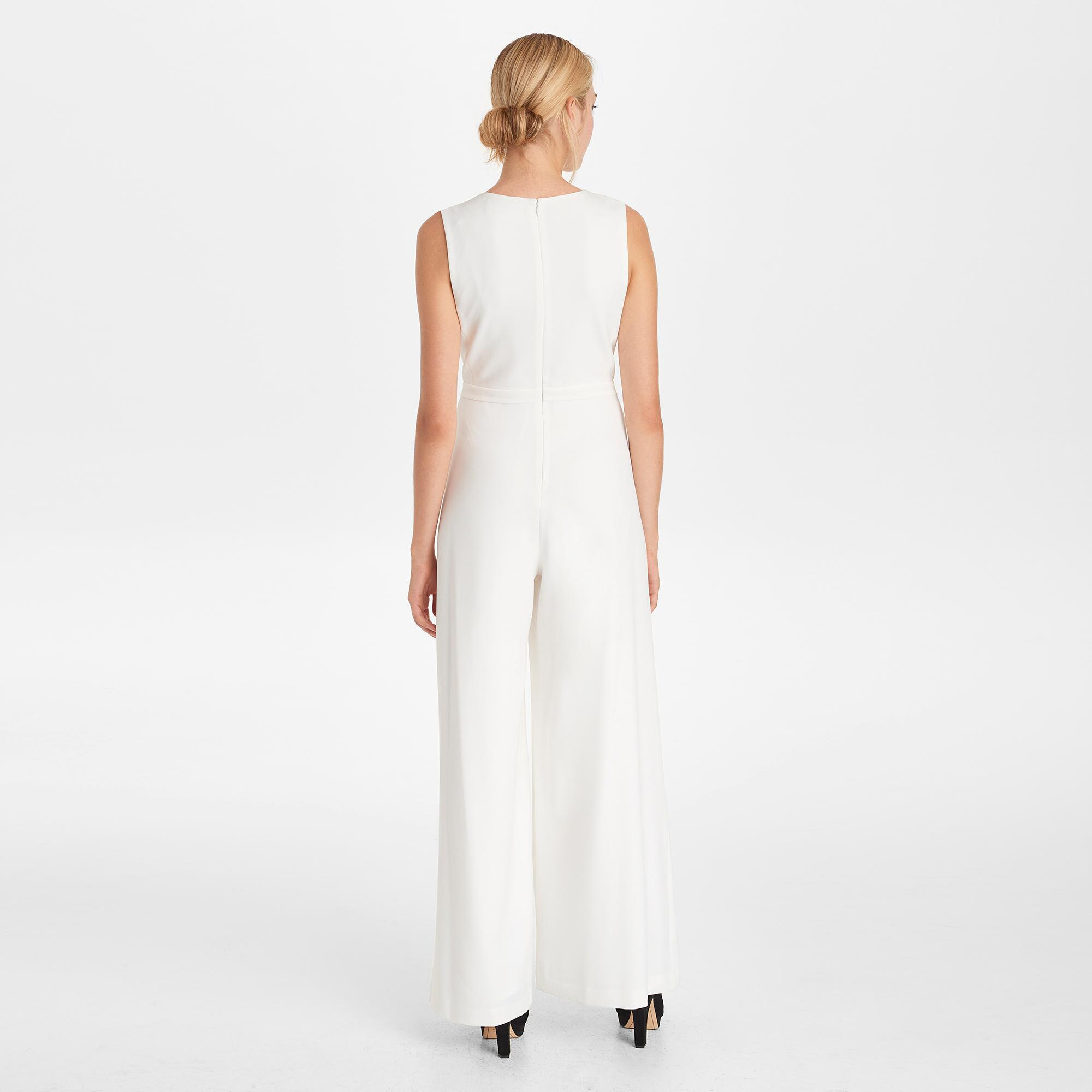 3ca2d63d83c Karl Lagerfeld - White Jumpsuit With Tie Neck - Lyst. View fullscreen