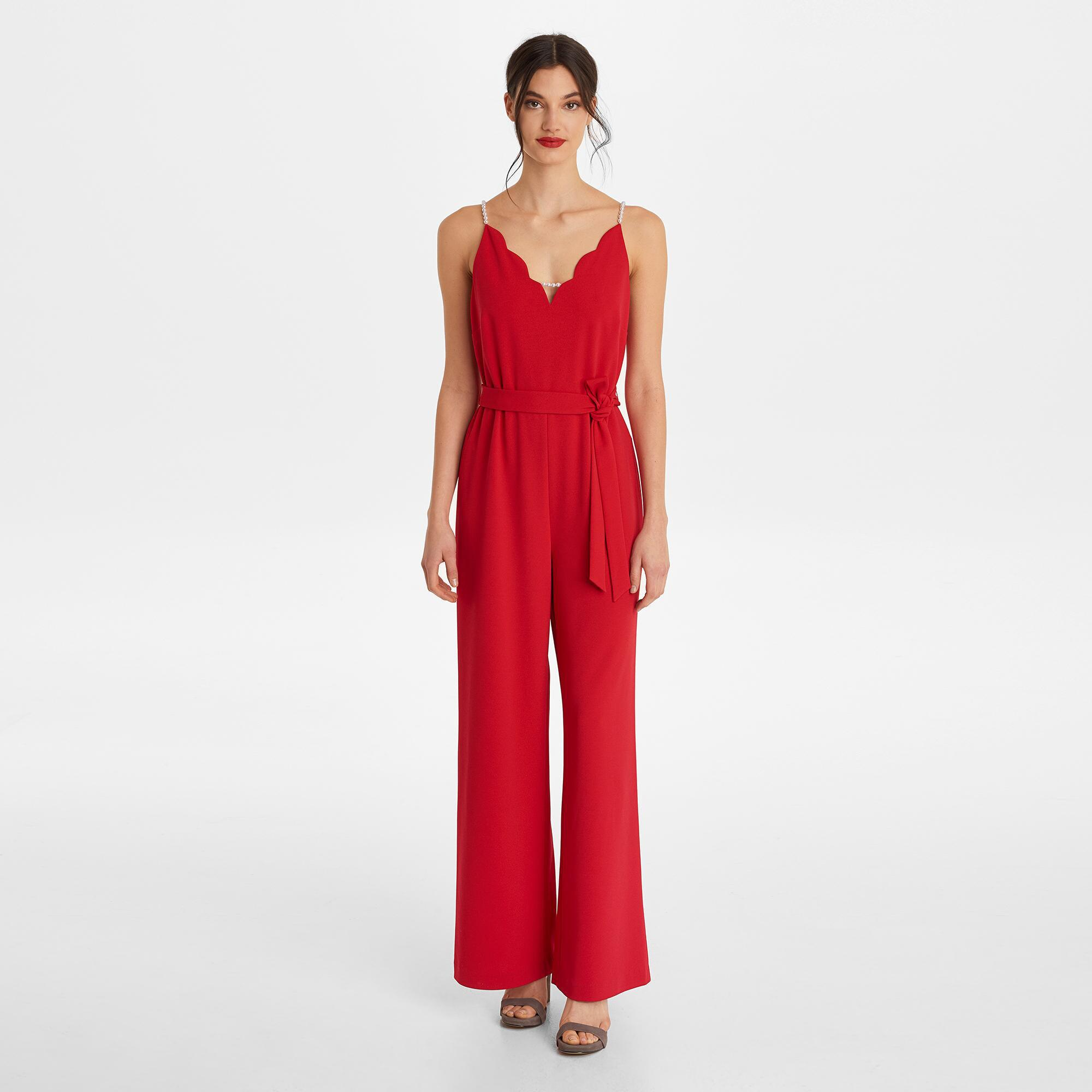 c36d7a1e471 Lyst - Karl Lagerfeld Pearly Strap V-neck Wide-leg Jumpsuit in Red ...
