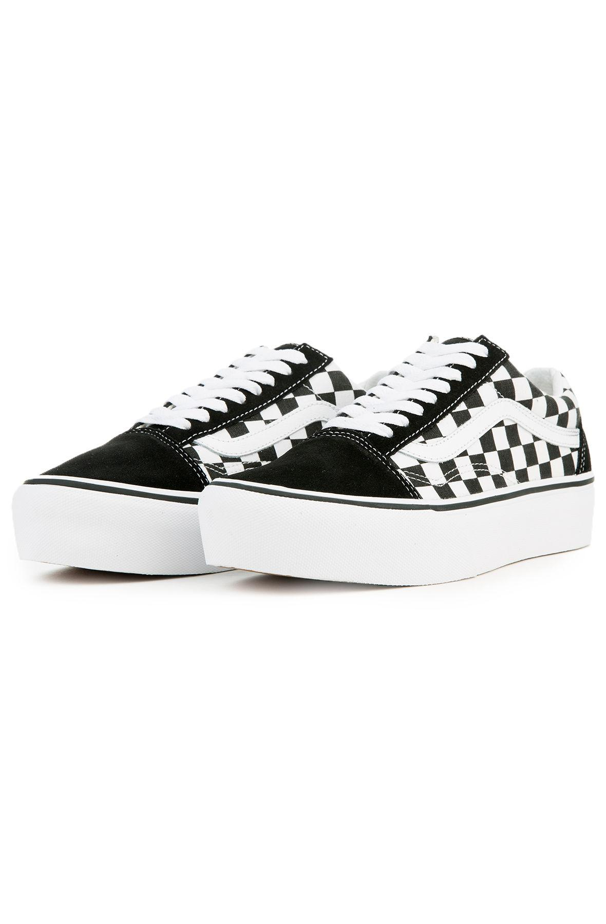 a8e2fd5c7c271d Lyst - Vans The Women s Old Skool Platform In Checkerboard Black And ...