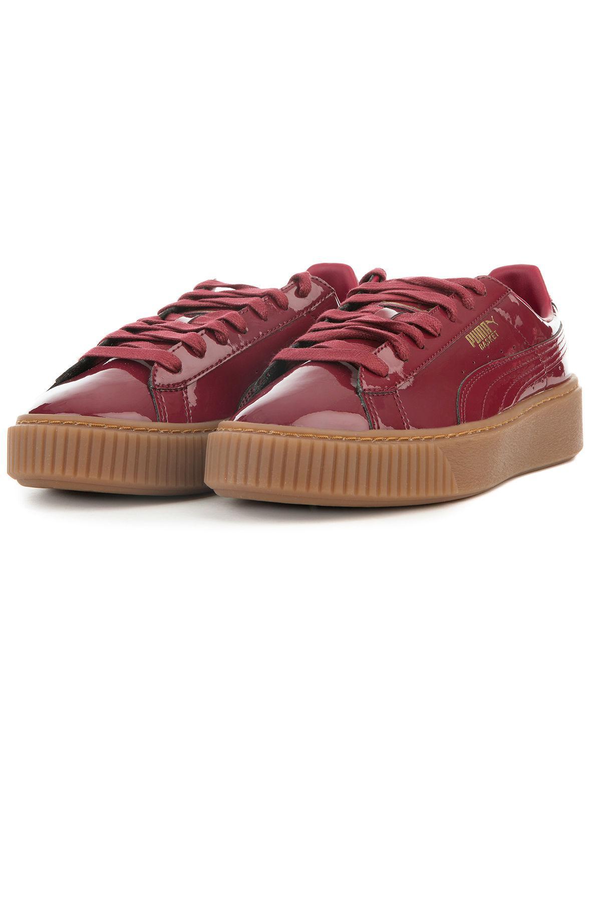 8cbb6e8408d7 Lyst - PUMA The Basket Platform Patent In Tibetan Red in Red