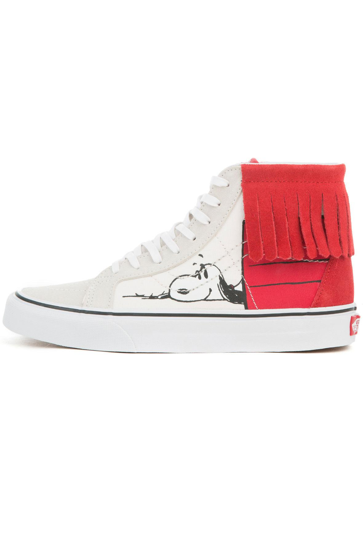 1e6a278eb6 Lyst - Vans The Women s X Peanuts Dog House Sk8 Hi Moc In Bone And ...