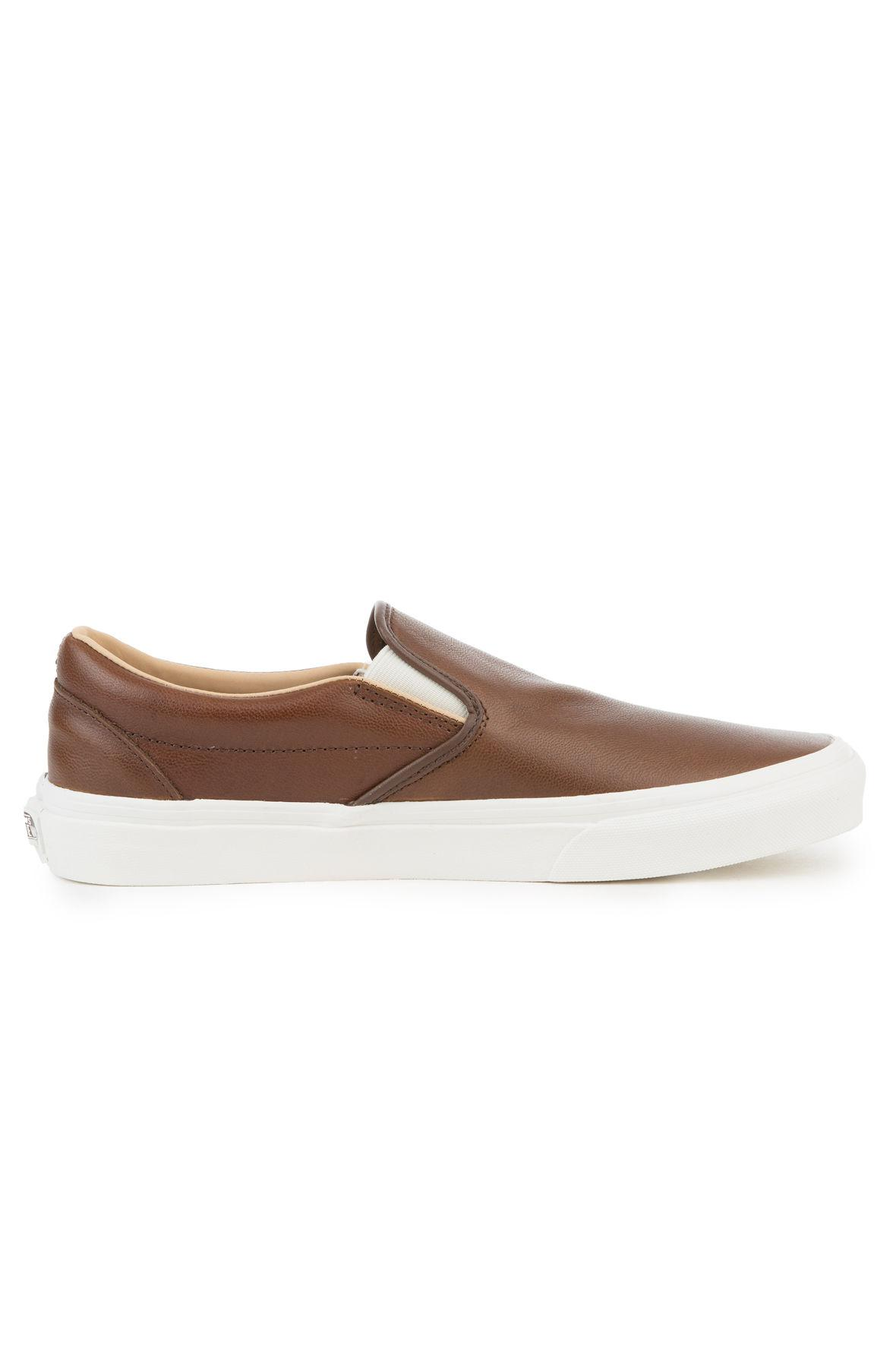 0514ce2a30 Lyst - Vans The Classic Slip-on Lux Leather In Shaved Chocolate And ...