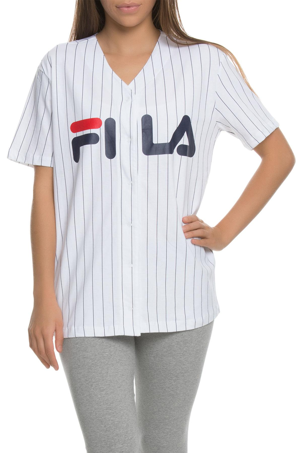 25cf533c283e Lyst - Fila The Lacey Baseball Tee In White  Navy And Chinese Red in ...