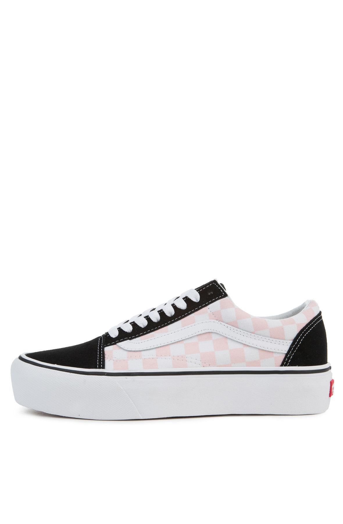 43f4888d6600 Lyst - Vans The Women s Old Skool Platform In Checkerboard Black And ...