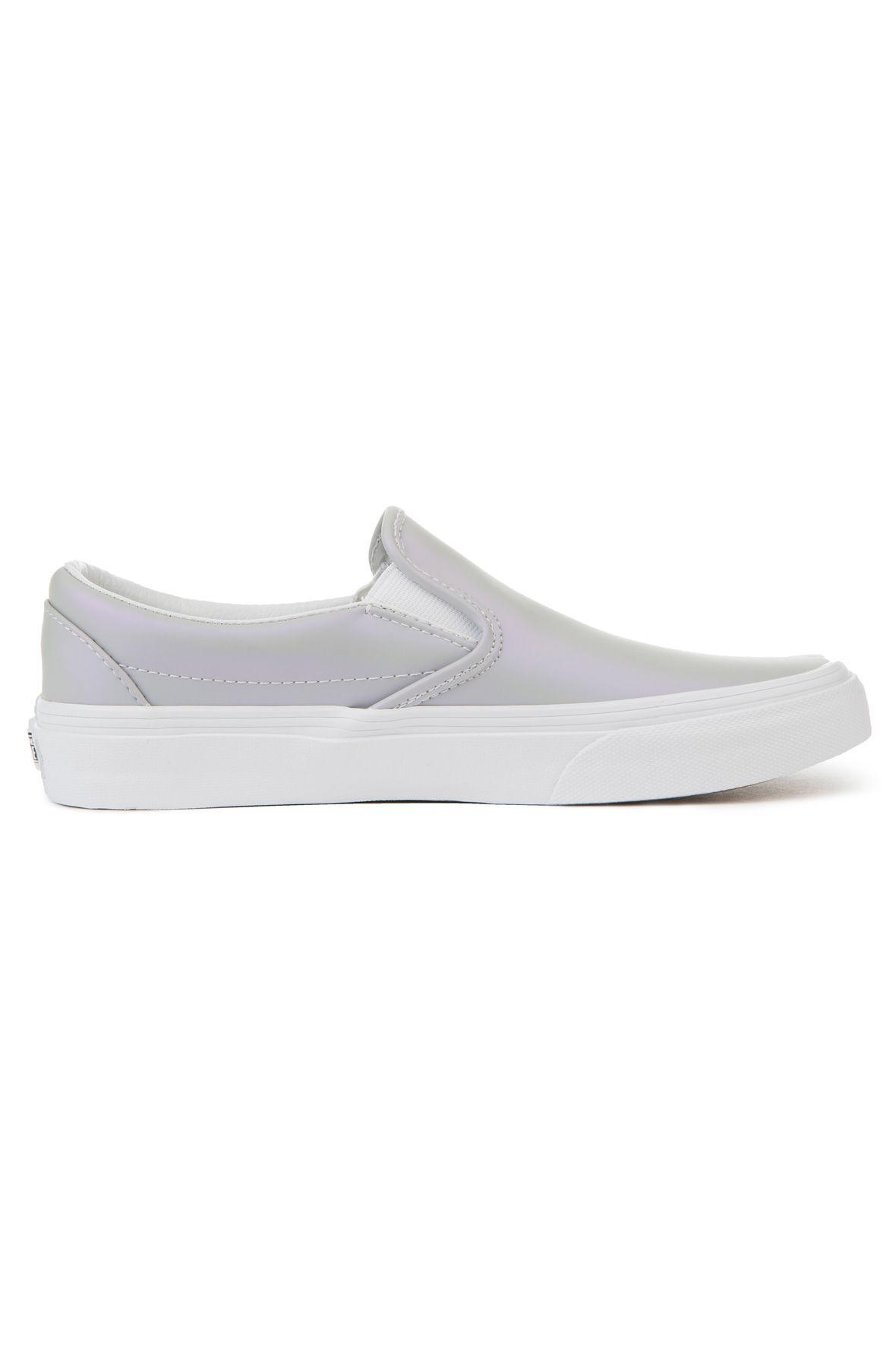 228fc20e68 Lyst - Vans The Women s Classic Slip-on Muted Metallic In Gray And ...