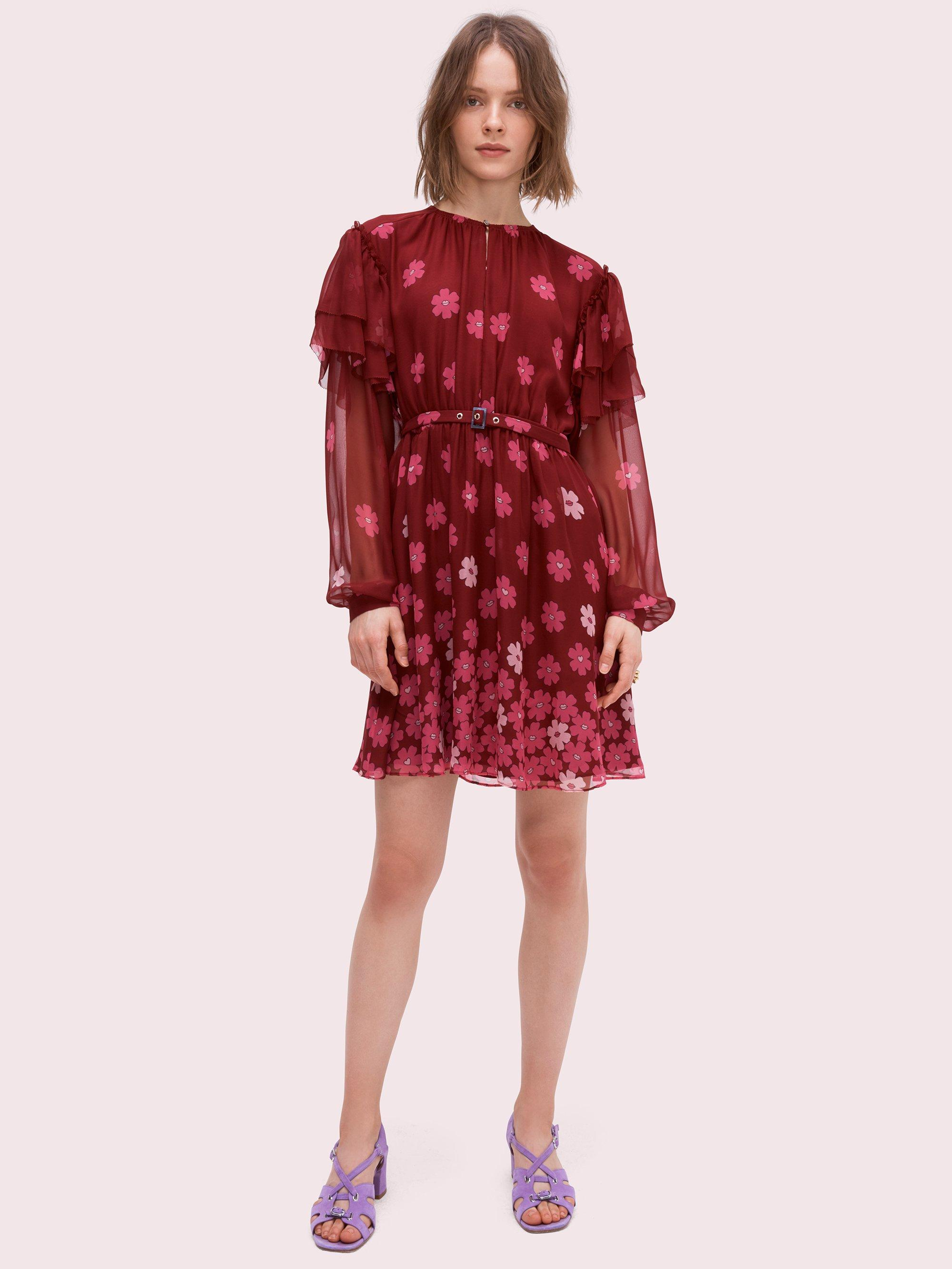 69777e31229f Lyst - Kate Spade Floral Kiss Mini Dress in Red