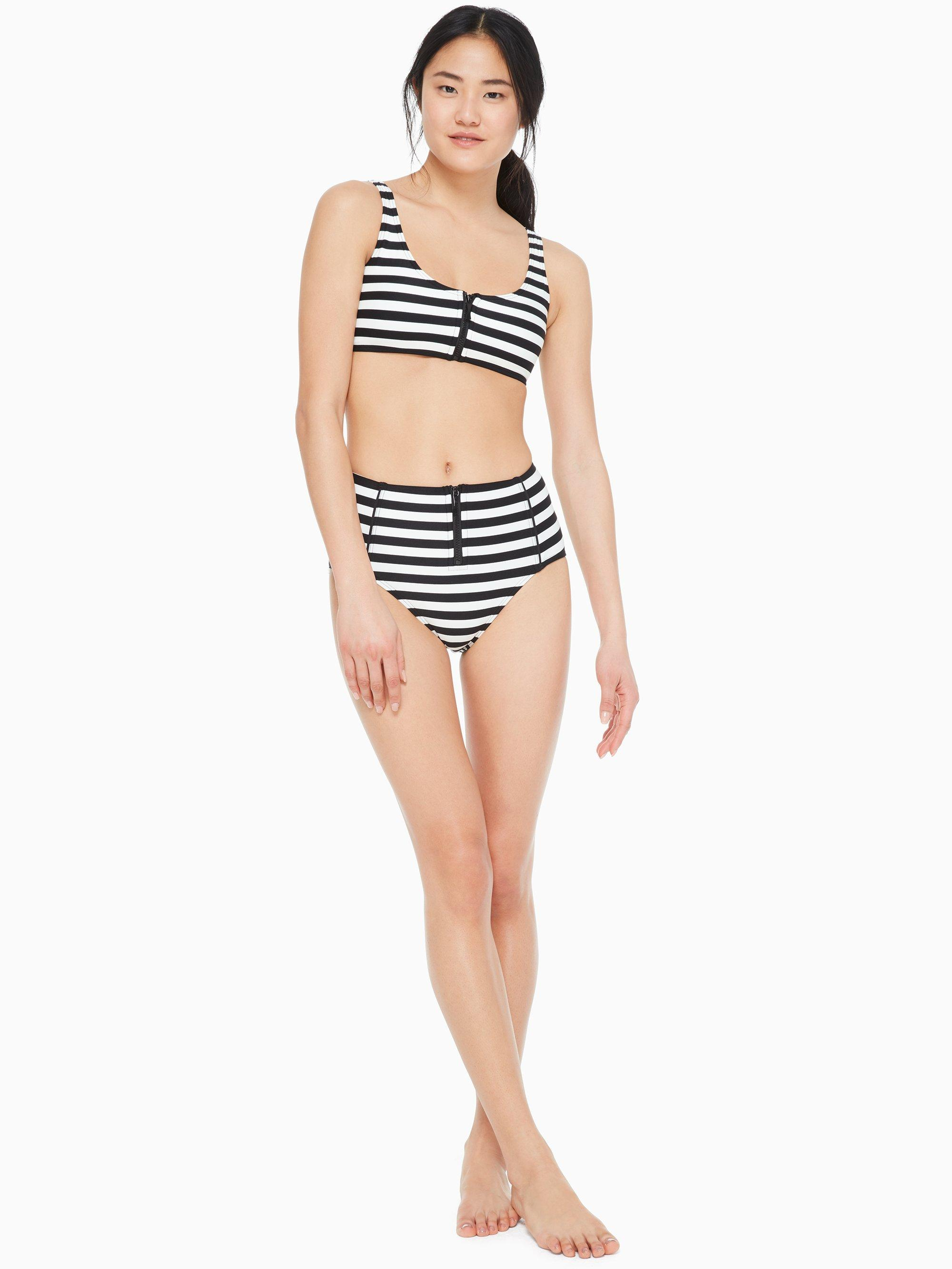 03f604f5803d2 Lyst - Kate Spade Cape May Stripe Zip High-waist Bikini Bottom in Black