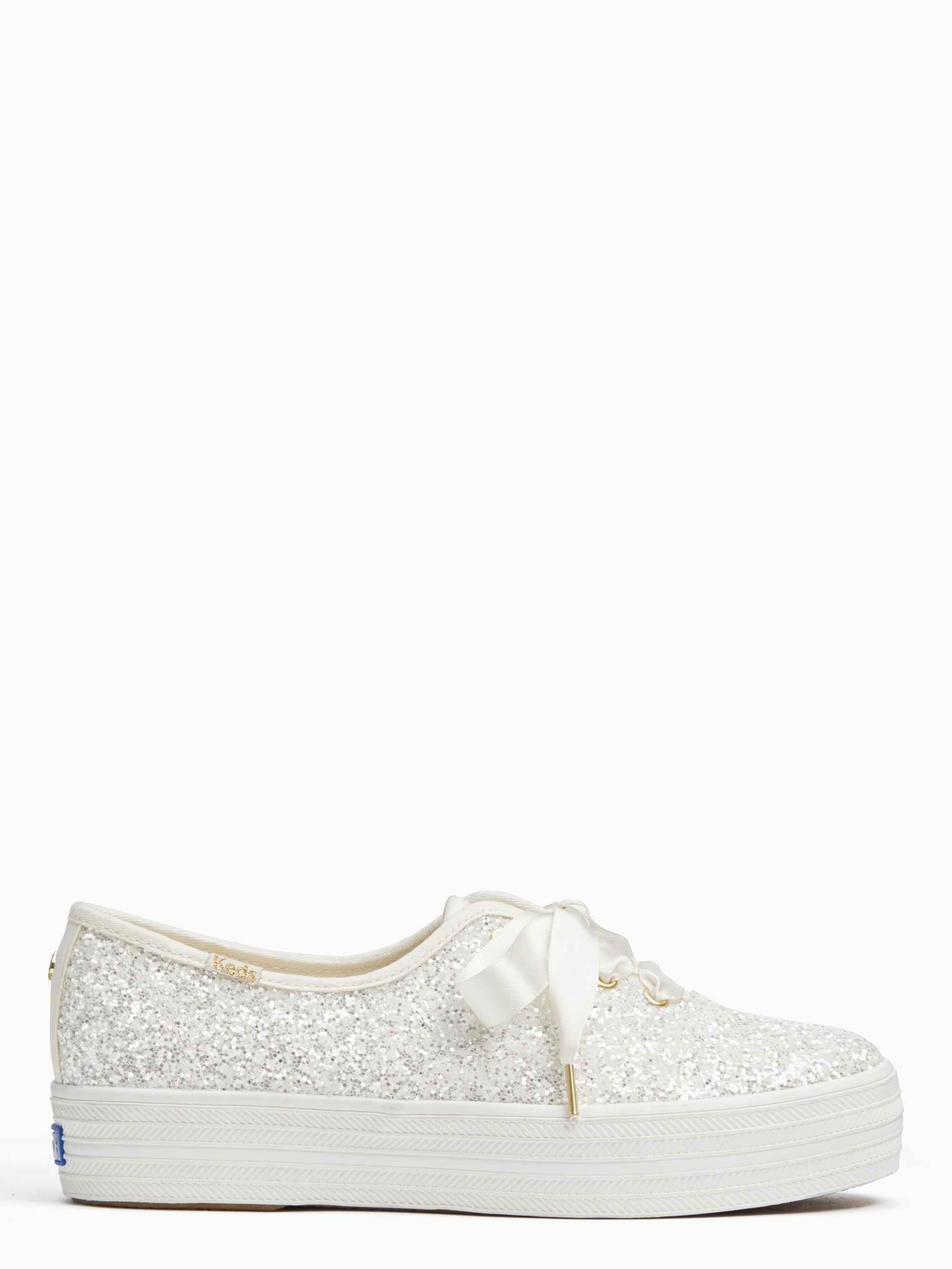 b23a34d2c1b5 Kate Spade Keds X New York Triple Glitter Sneakers in Natural - Lyst