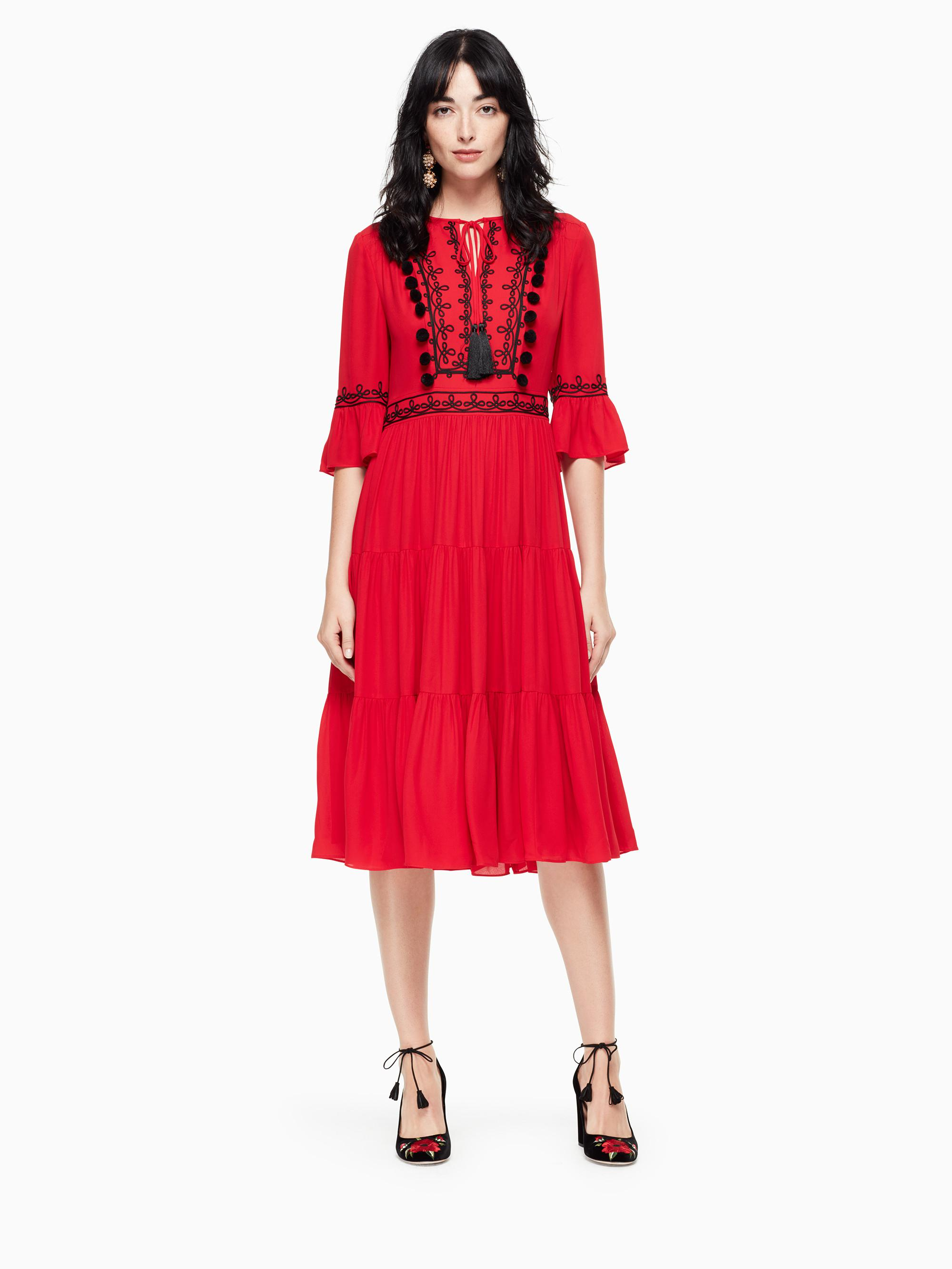 4bc3a8e40480 Lyst - Kate Spade Pom Embroidered Midi Dress in Red