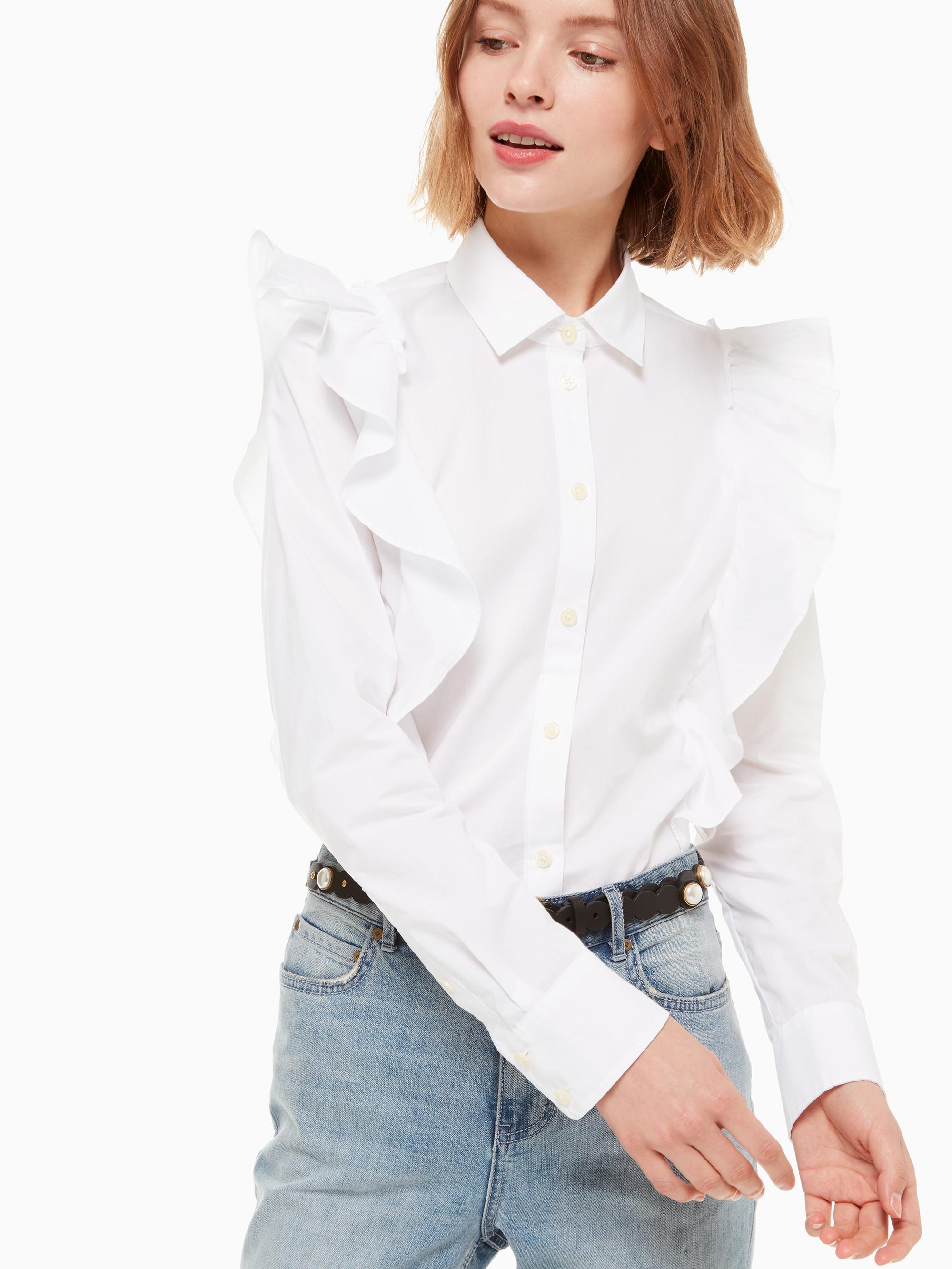 ad3eff7fea0 Lyst - Kate Spade Poplin Ruffle Shirt in White