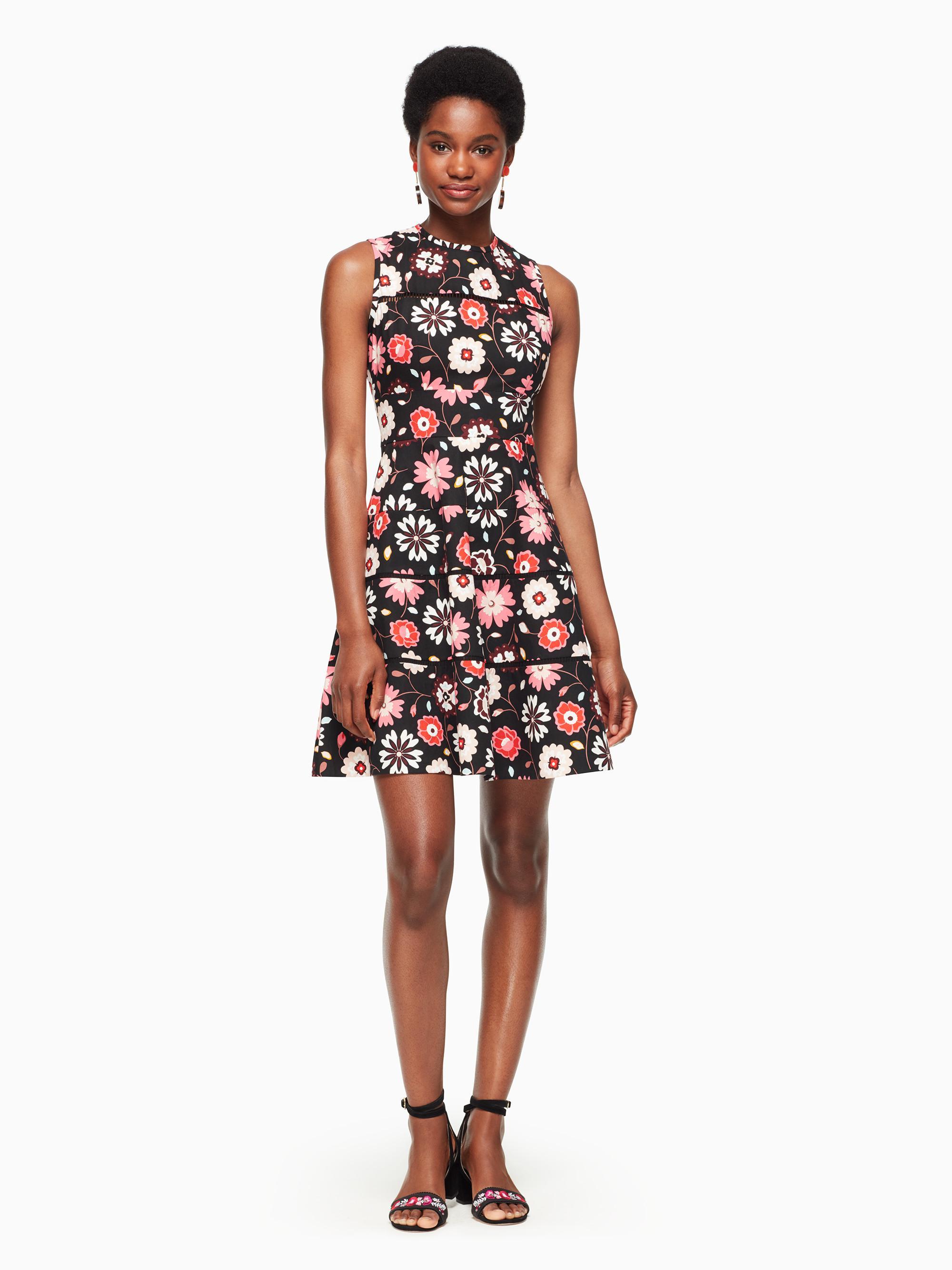 9061f14117a Lyst - Kate Spade Casa Flora Poplin Dress in Black